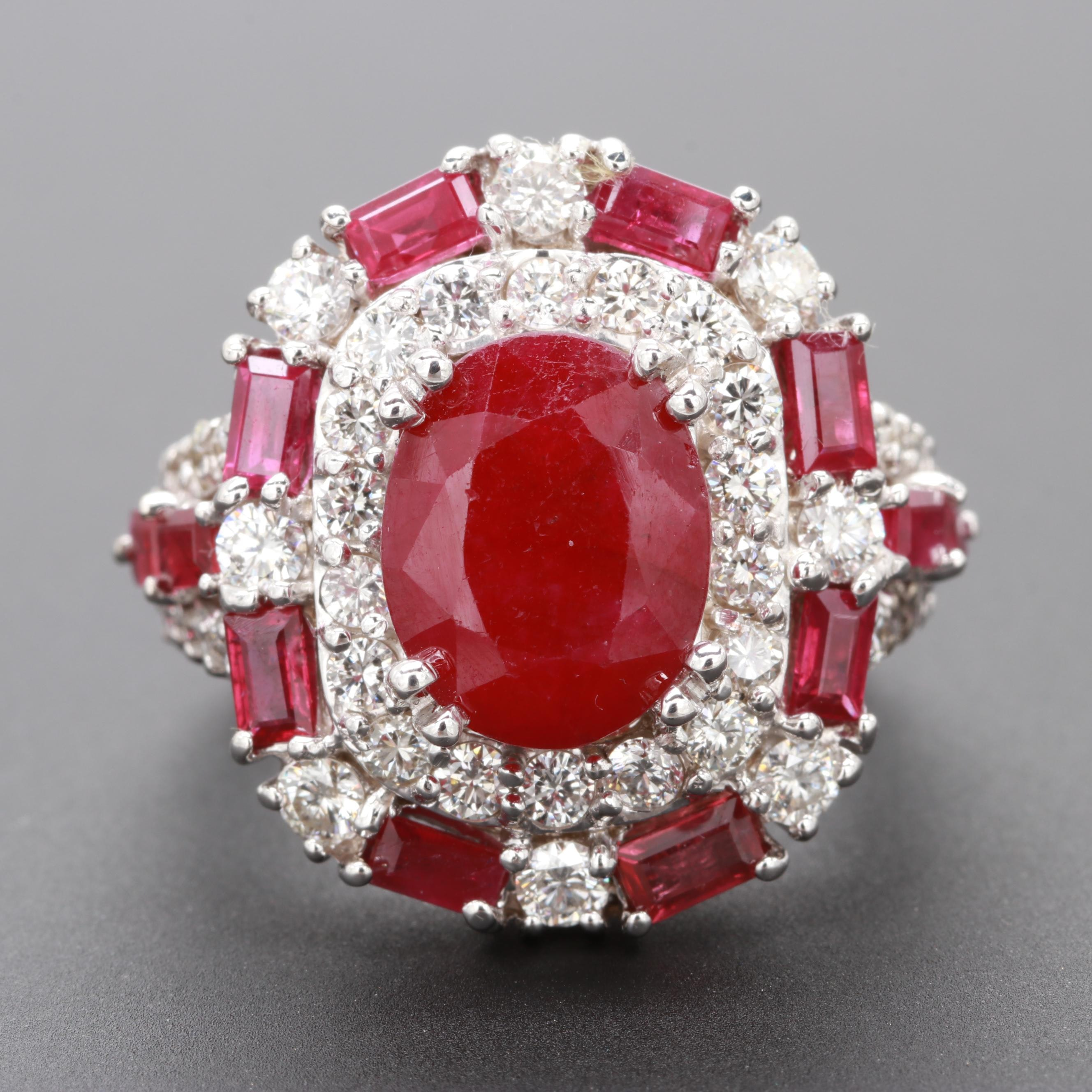 18K White Gold Ruby and 1.34 CTW Diamond Ring with 2.05 CT Center Stone