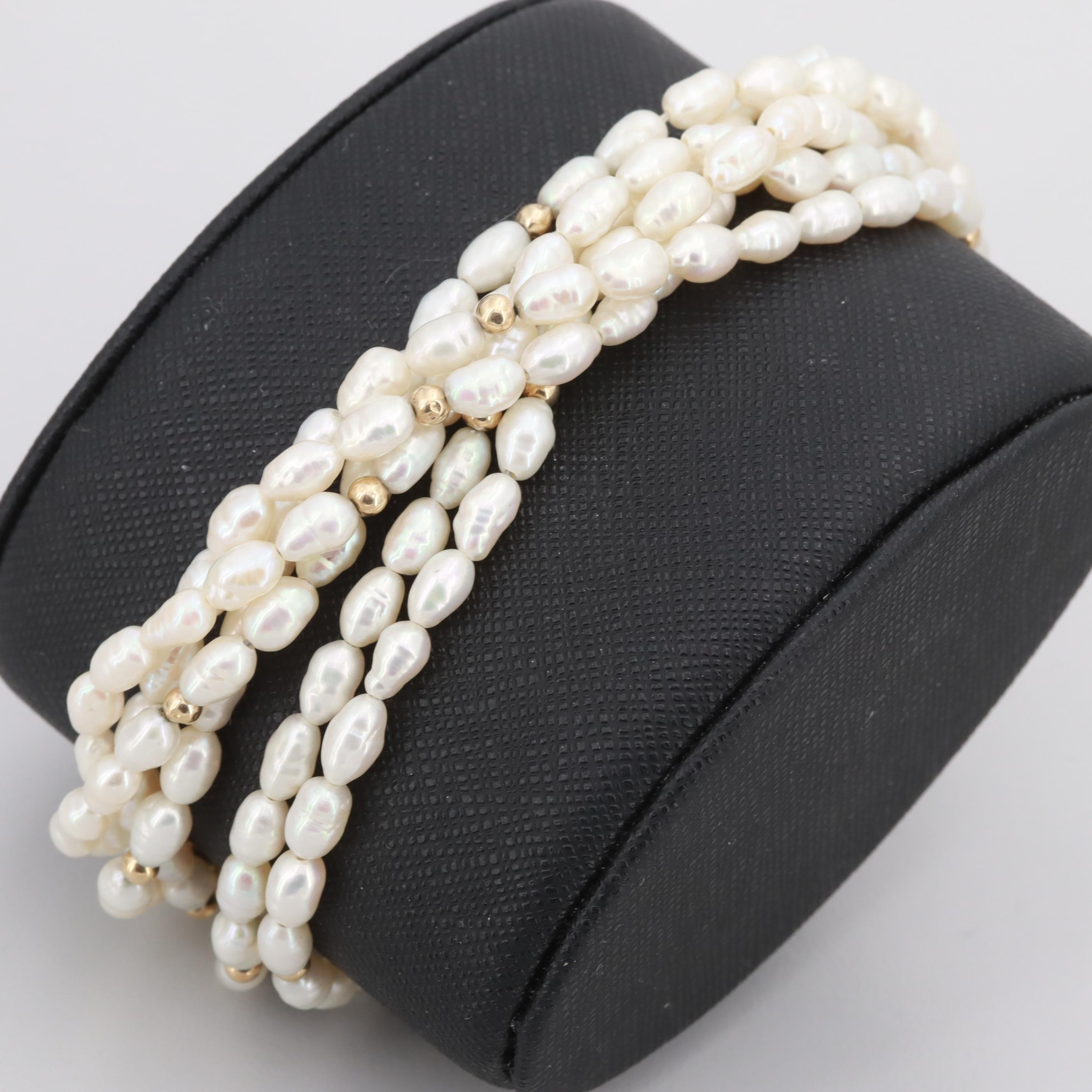 14K Yellow Gold Cultured Pearl Six Strand Bracelet