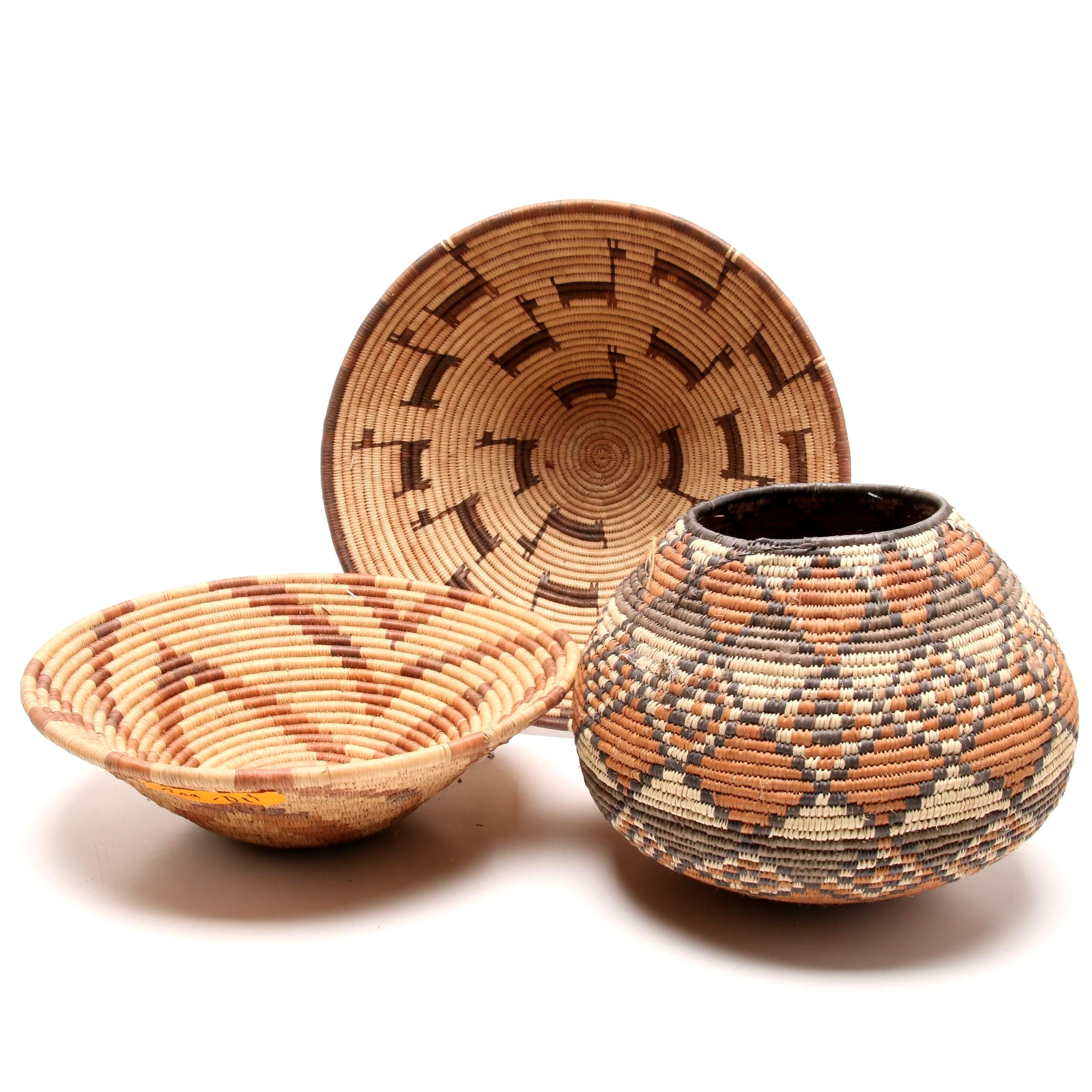 African Zulu Traditional Woven Basket and Bowls