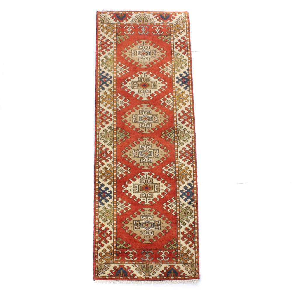2'7 x 8'2 Hand-Knotted Indo-Caucasian Kazak Carpet Runner