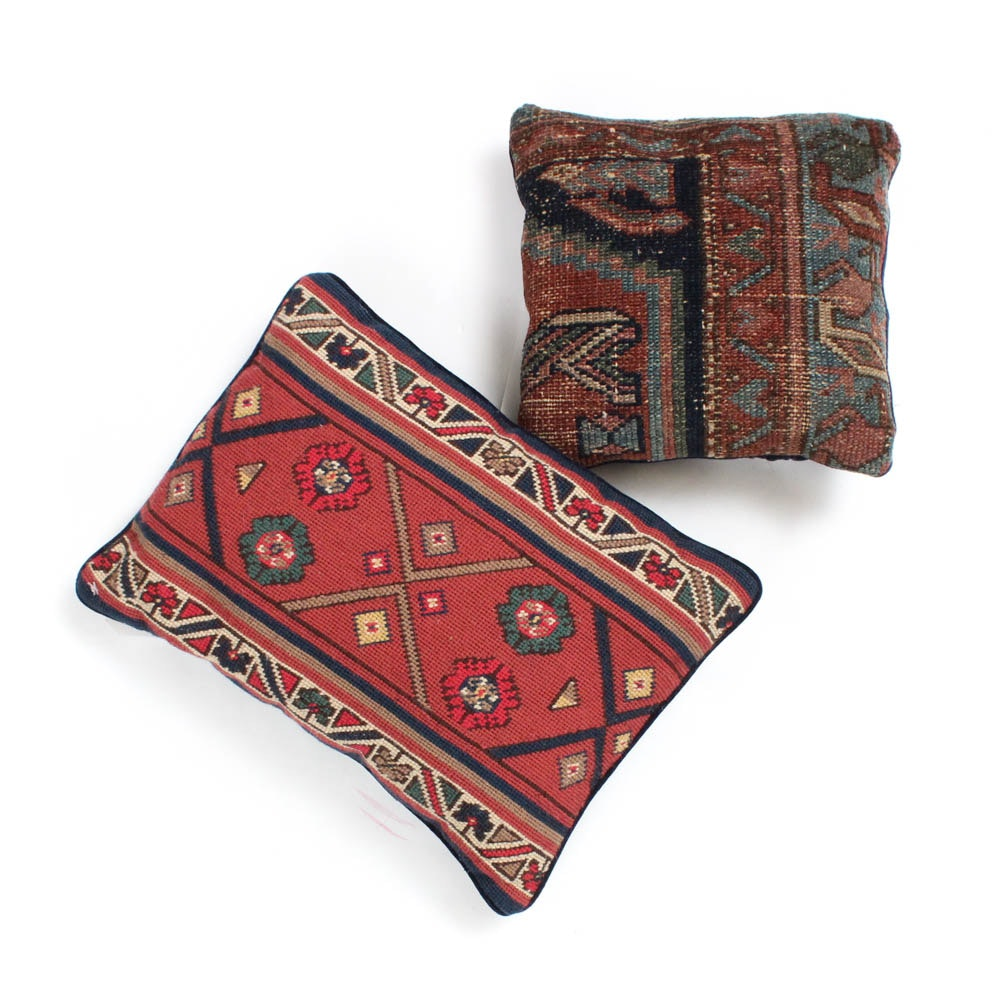 Turkish Rug Remnant Pillow and Kilim Style Needlepoint Pillow