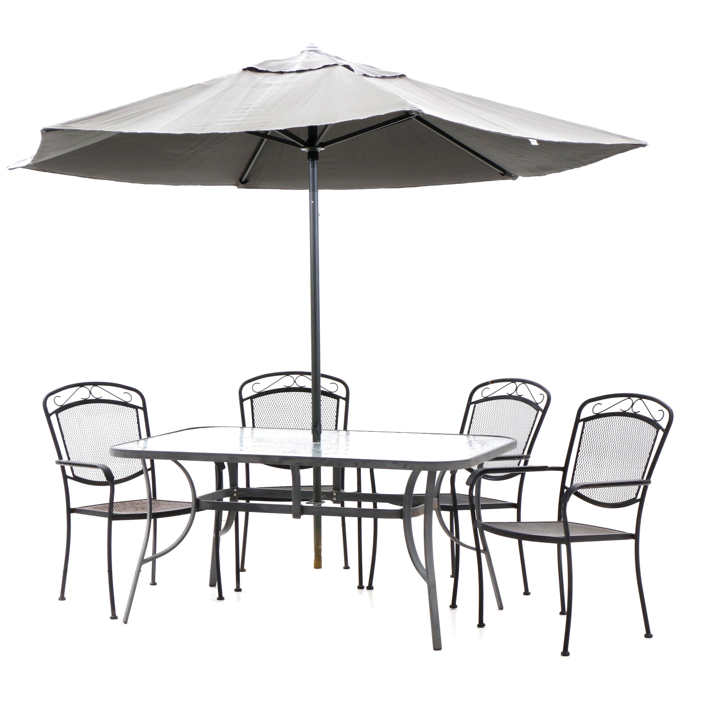 Patio Dining Table and Chairs with Home Trends Umbrella