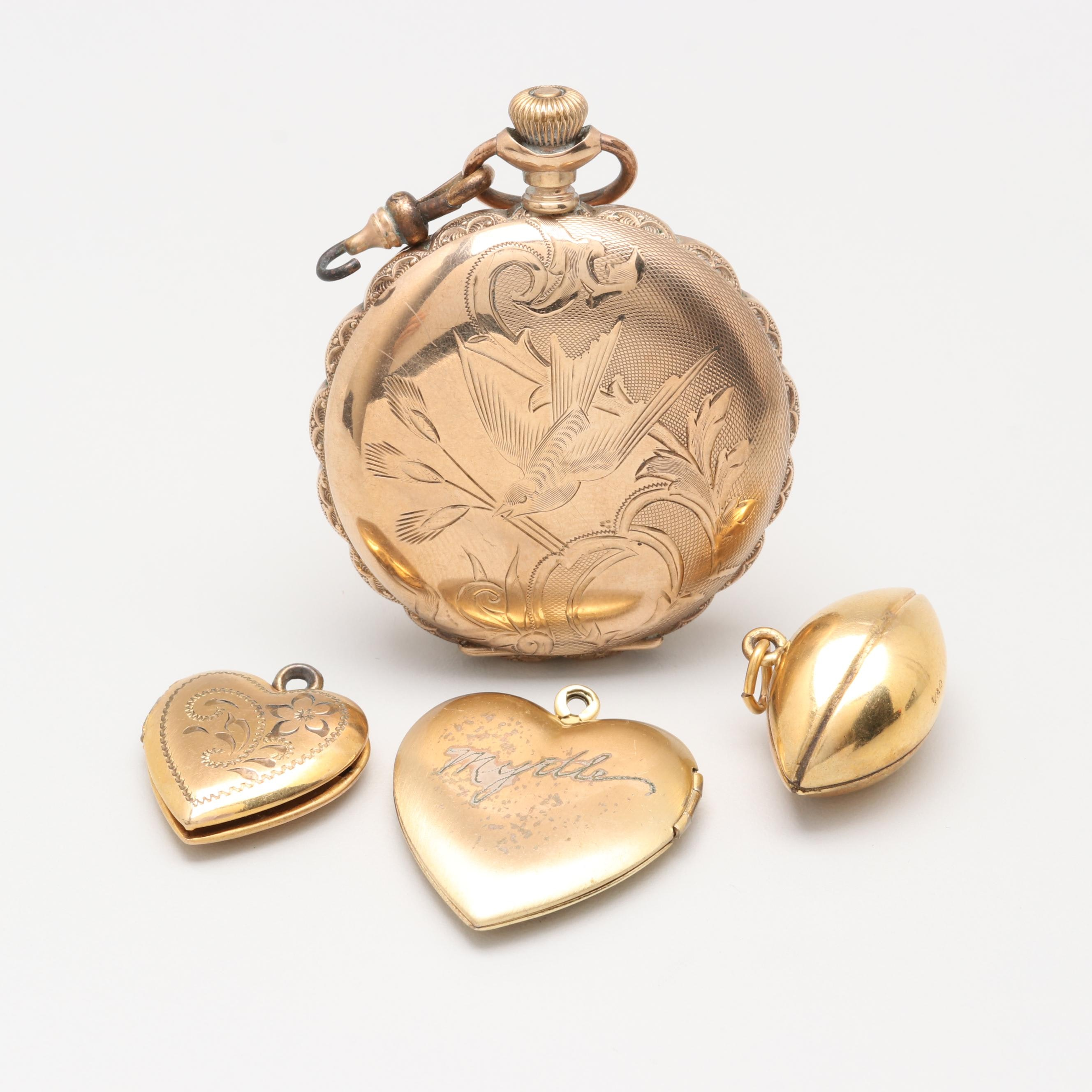 Gold Tone and Gold Filled Lockets and Football Pendant