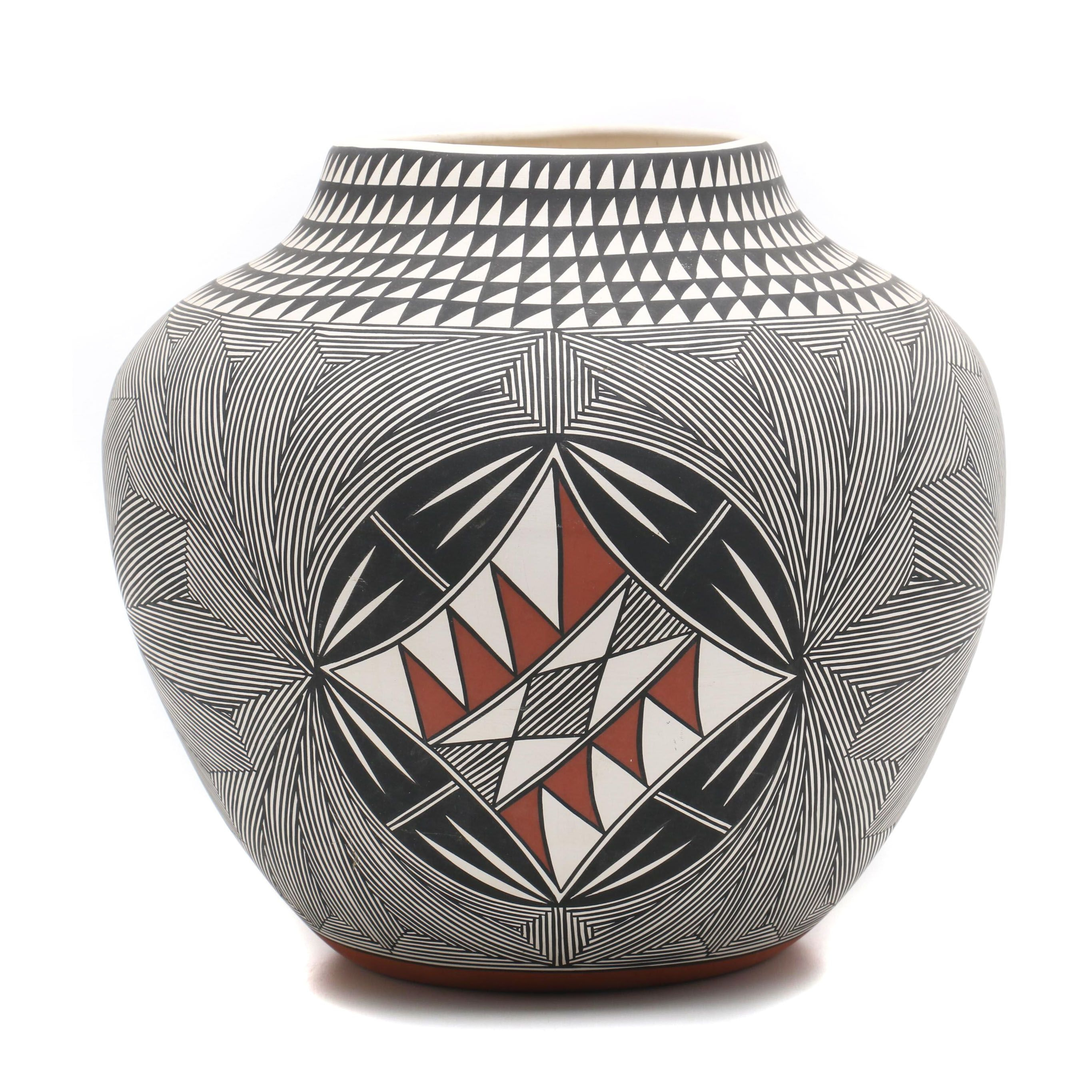 Terrance M. Chino, Sr. Acoma Hand-Painted Earthenware Seed Pot