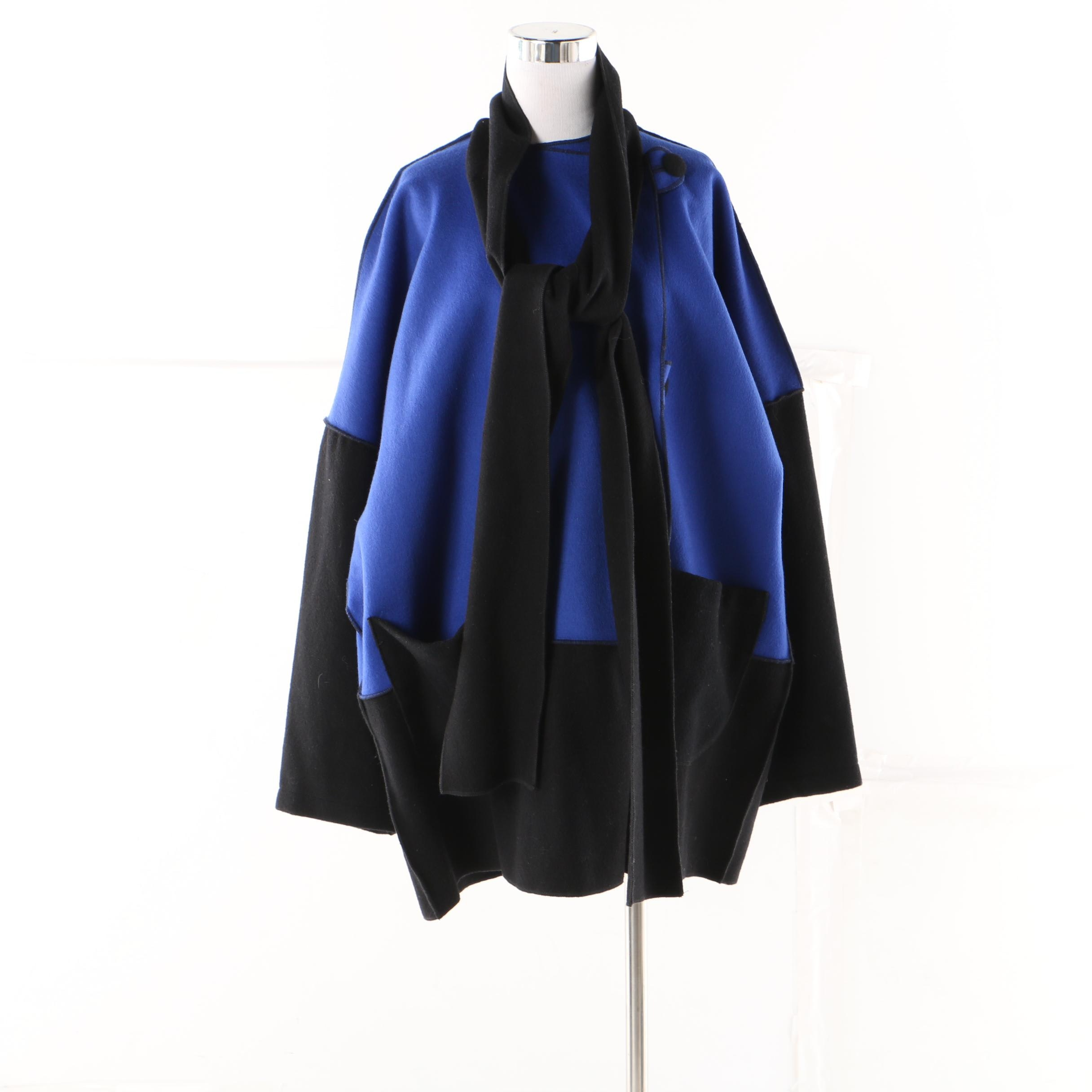 JJ Hobeau Oversized Wool Blue and Black Color Blocked Jacket with Collar Scarf