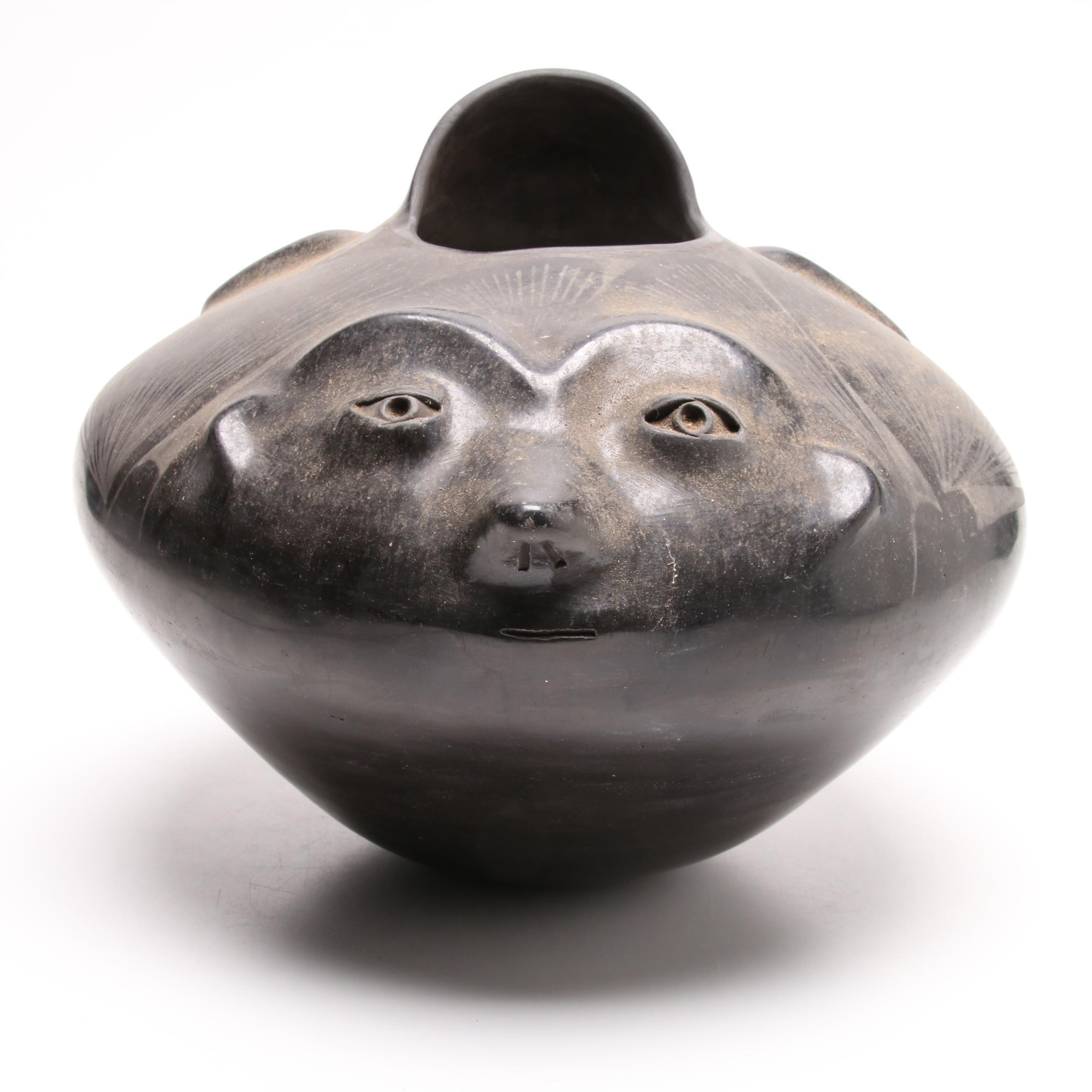 Native American Blackware Pottery Olla