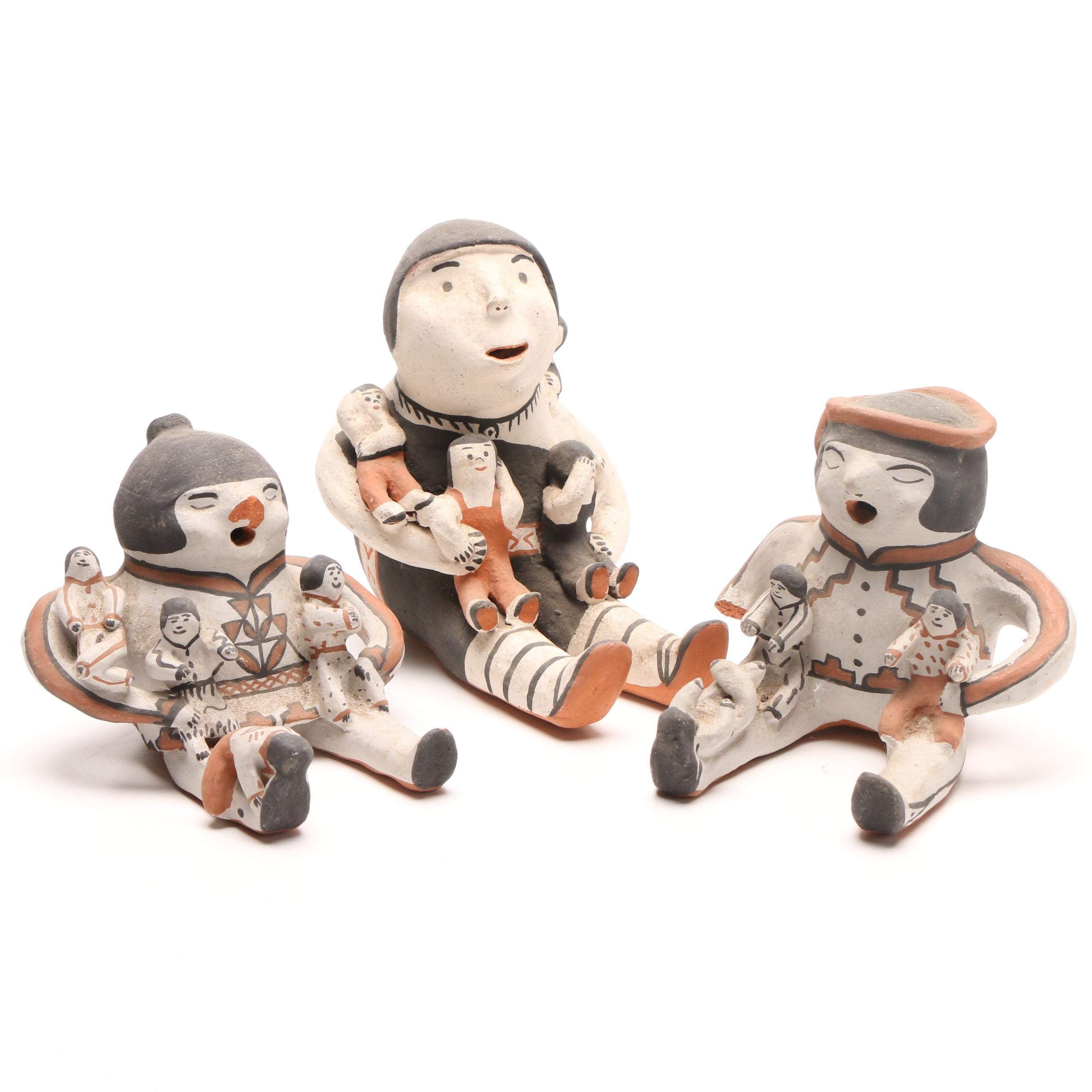 Jemez Pueblo Hand-Painted Pottery Storyteller Figurines