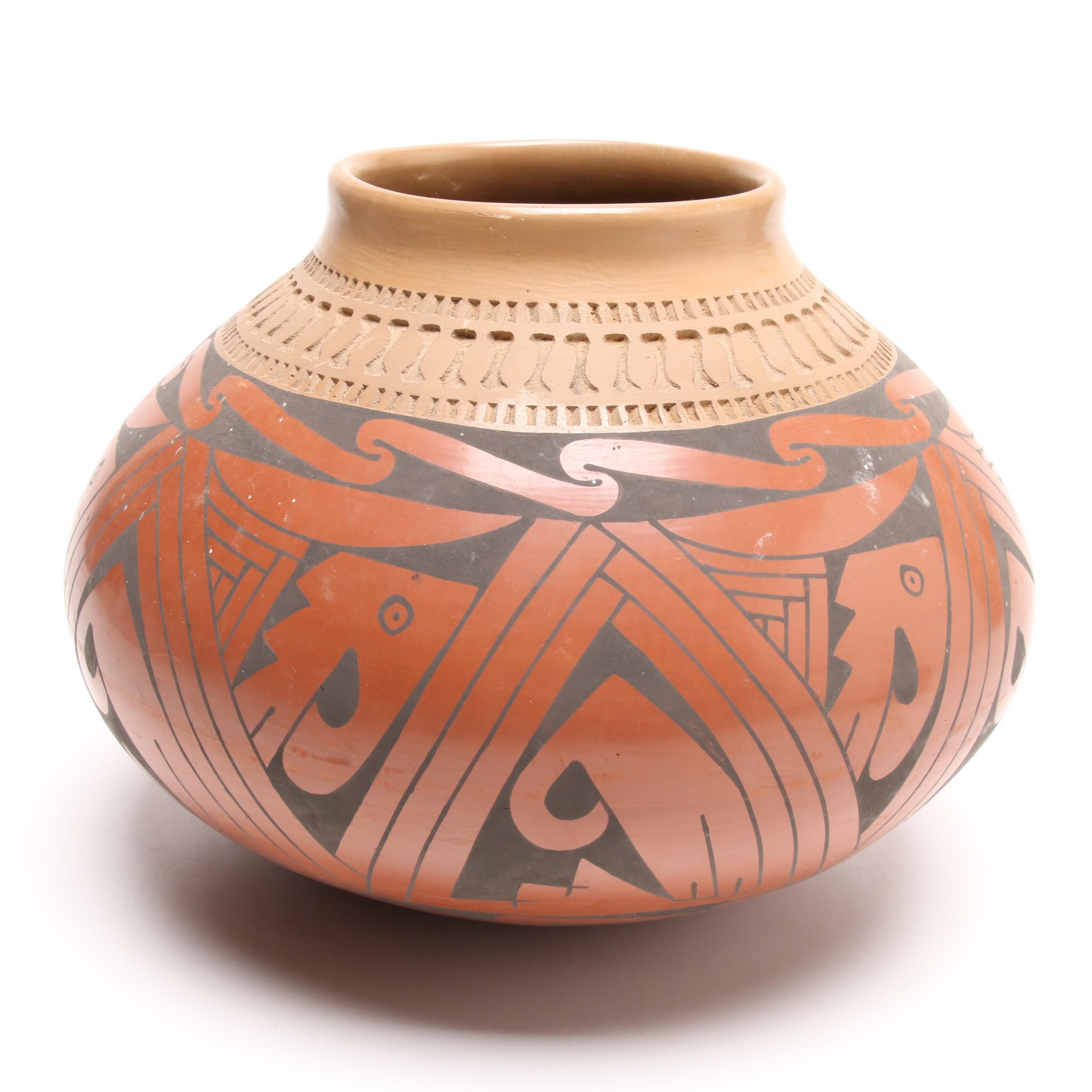 Fito Teno Mata Ortiz Polychromed Pottery Olla