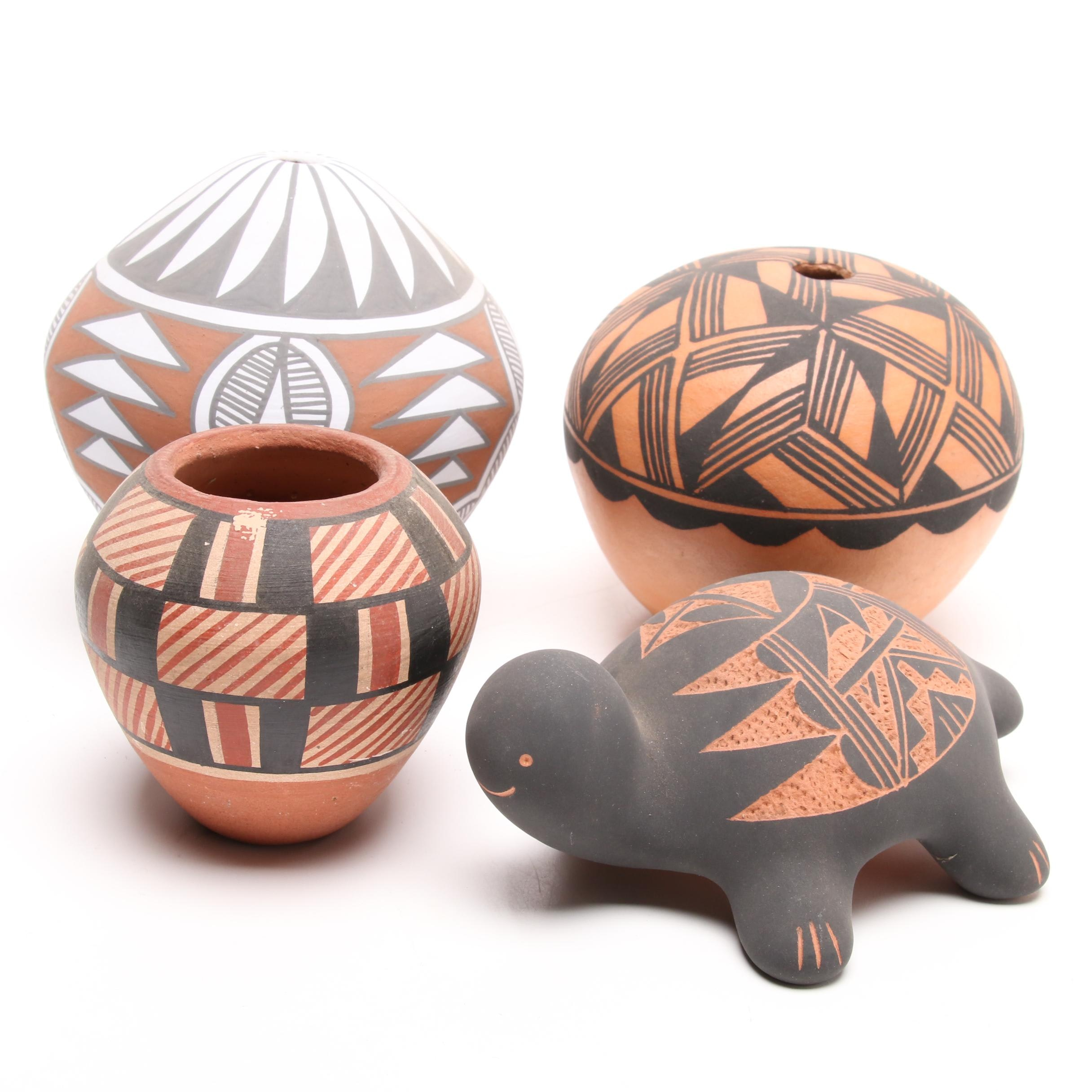 Native American Sgraffito and Polychrome Art Pottery