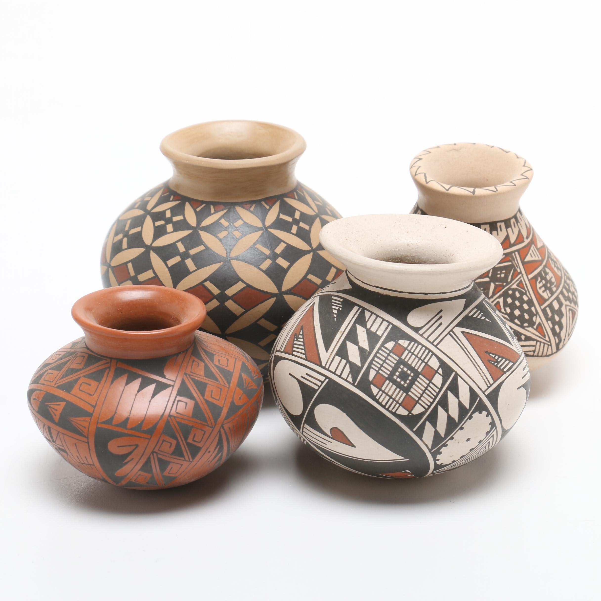 Signed Mata Ortiz Polychromed Pottery Ollas