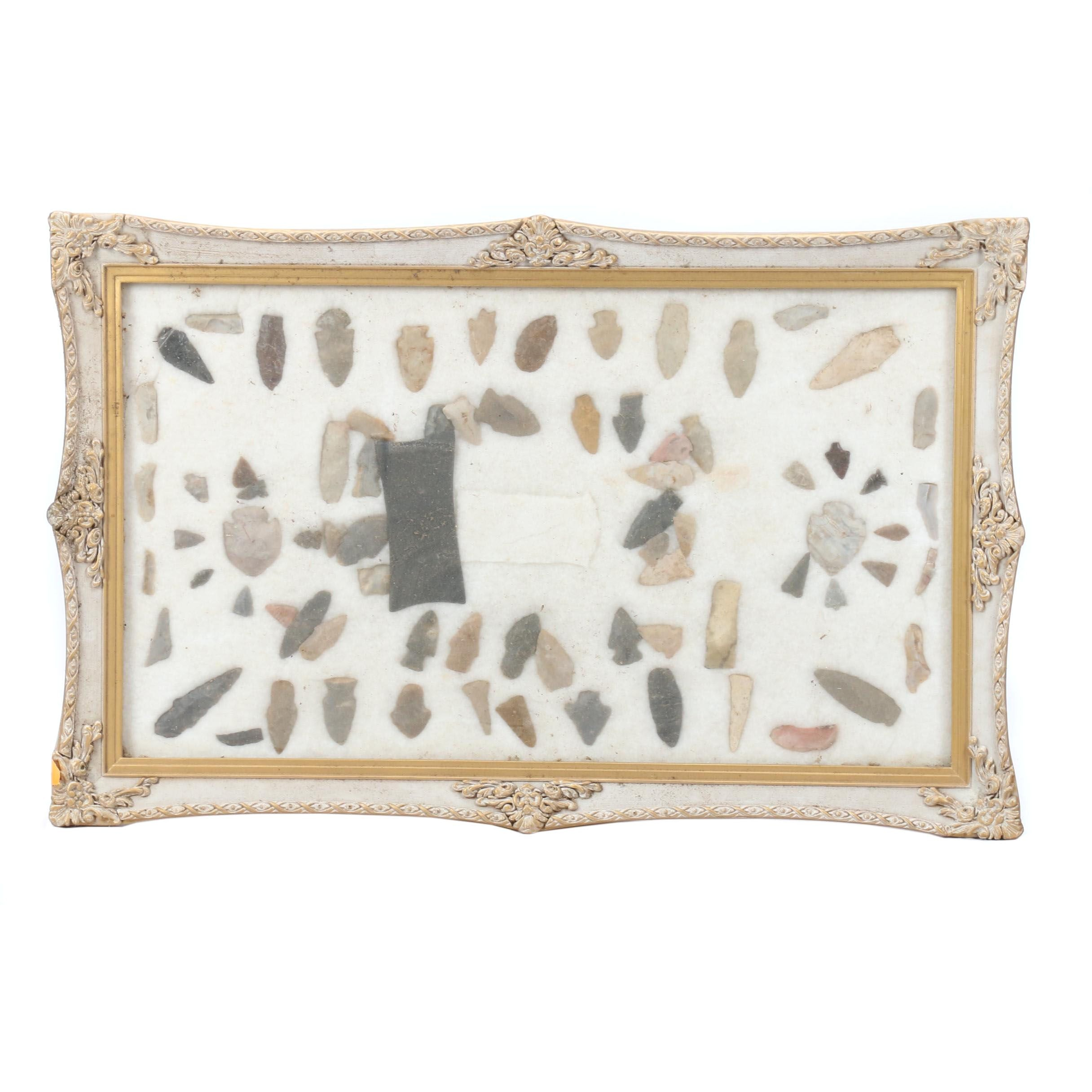 Framed Antique Projectile Point Collection