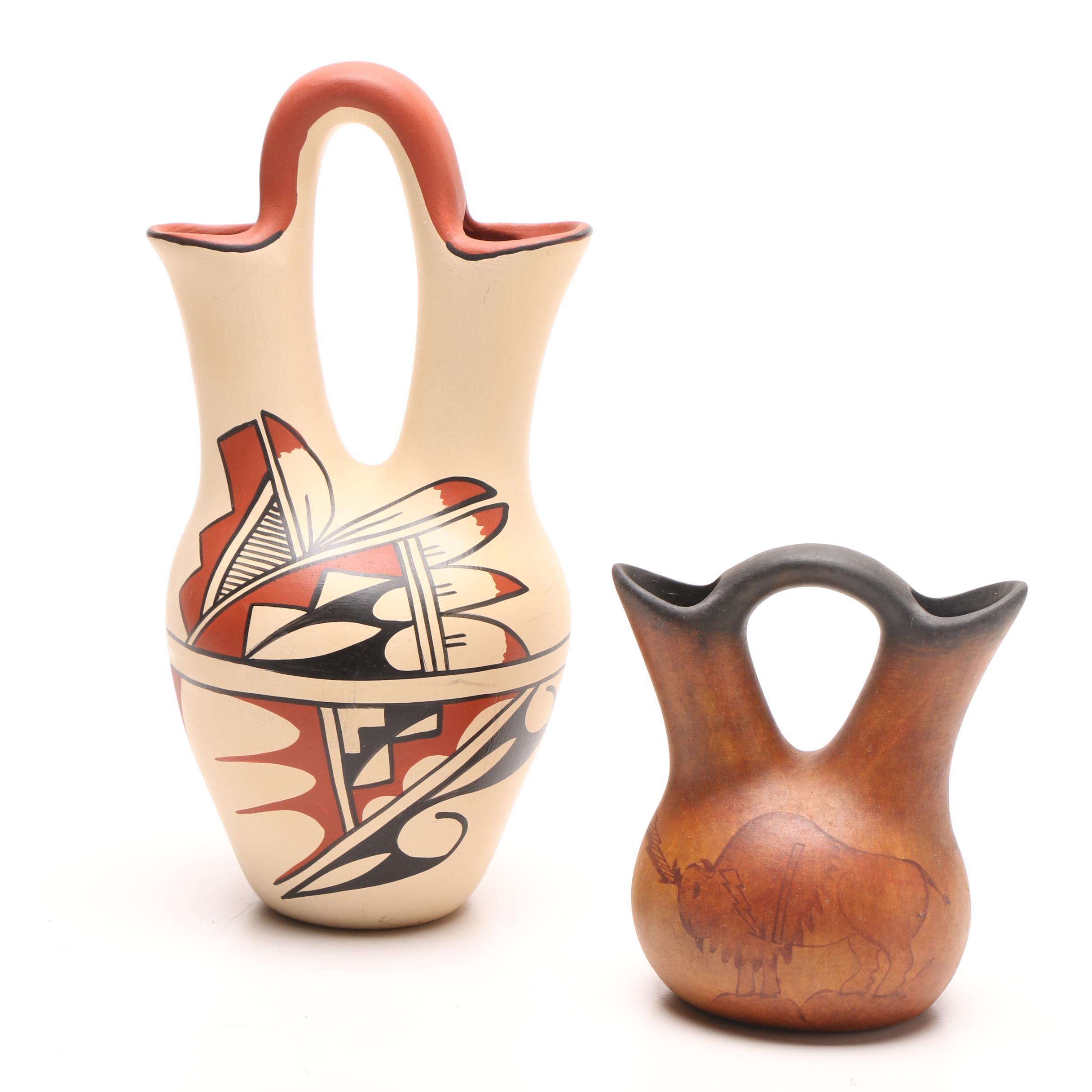 R. Galvan Mata Ortiz Pottery Wedding Vase + E. Tafoya Jemez Pueblo Wedding Vase