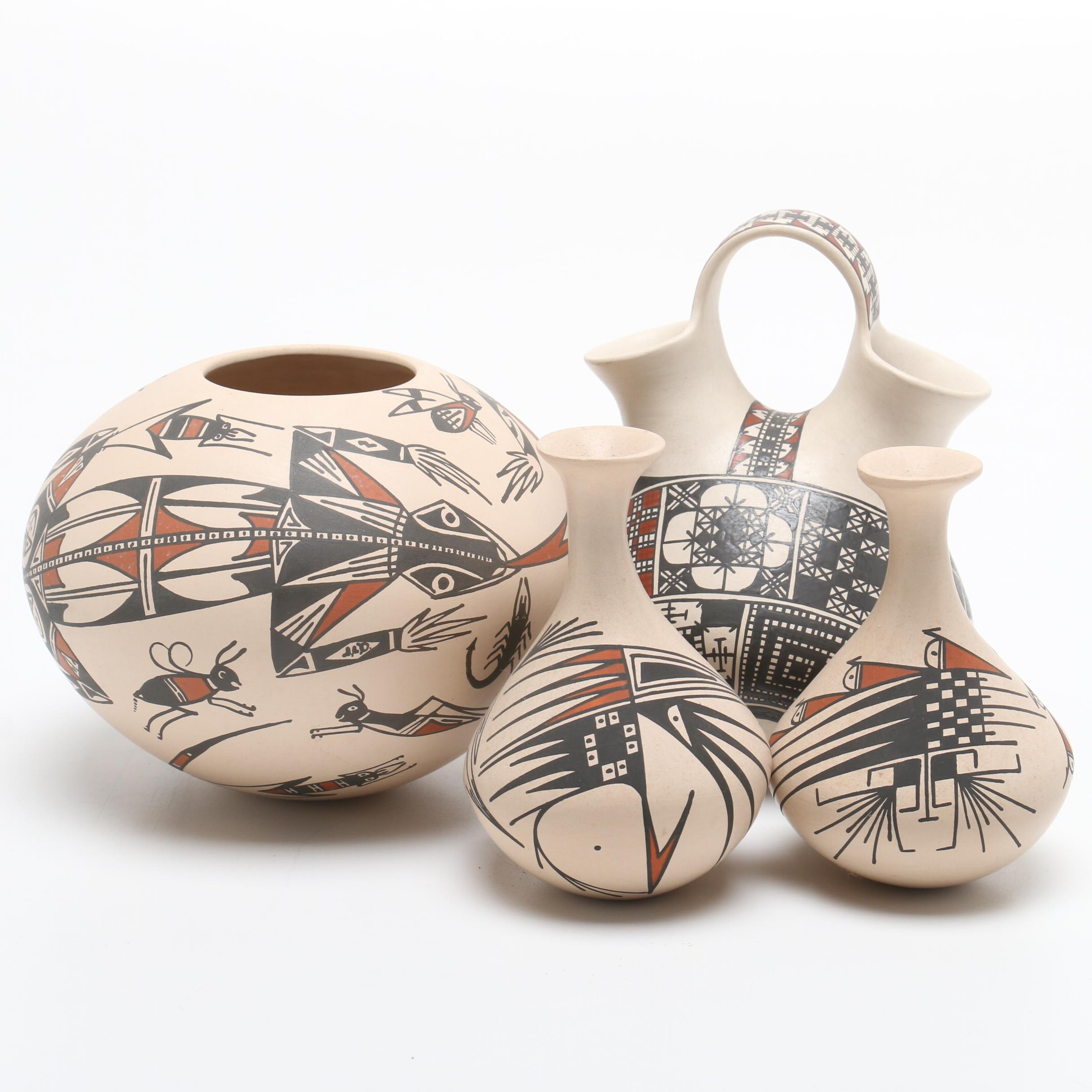 Mata Ortiz Polychrome Pottery with Vases, Seed Pot
