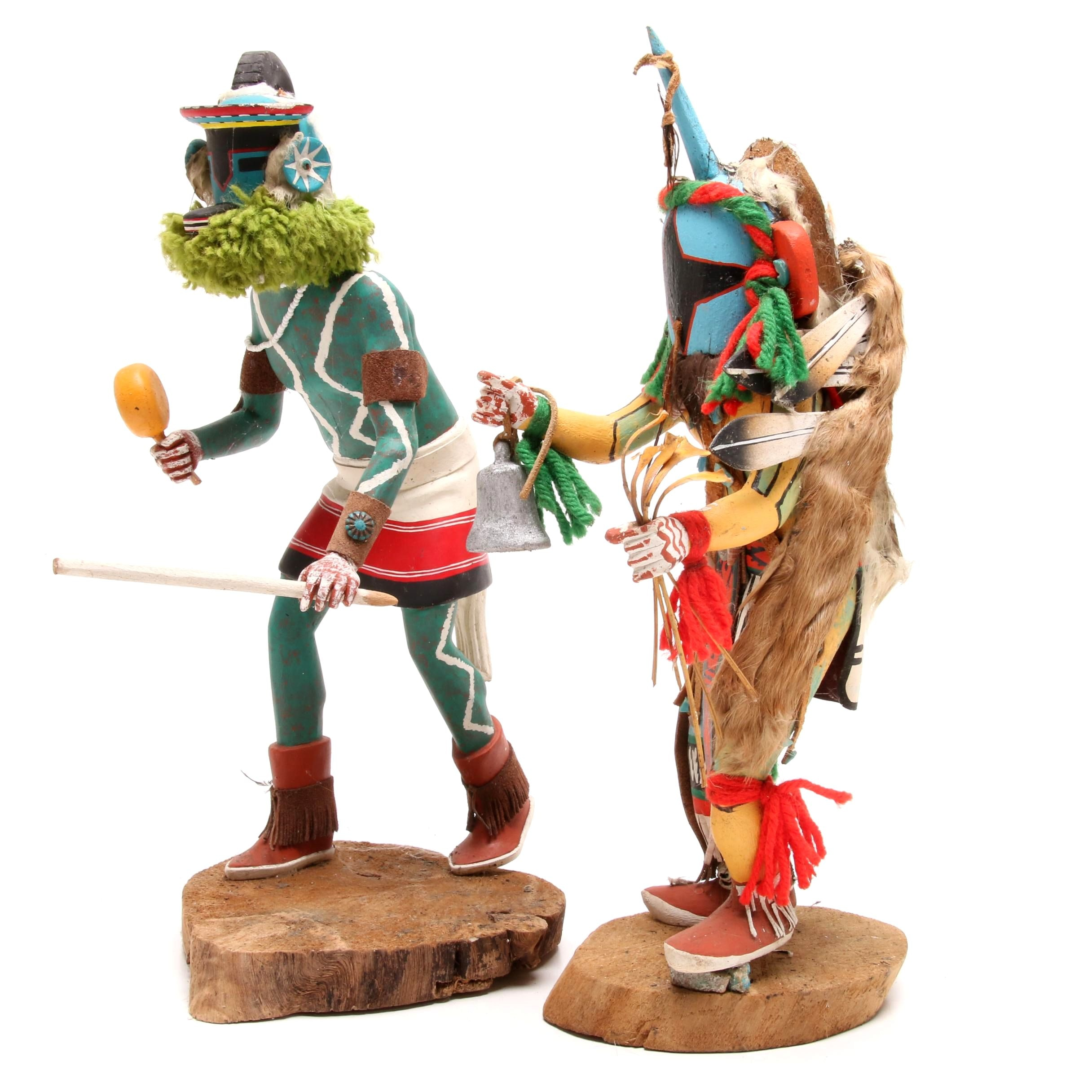 Pair of Native American Kachina Dolls, One Signed