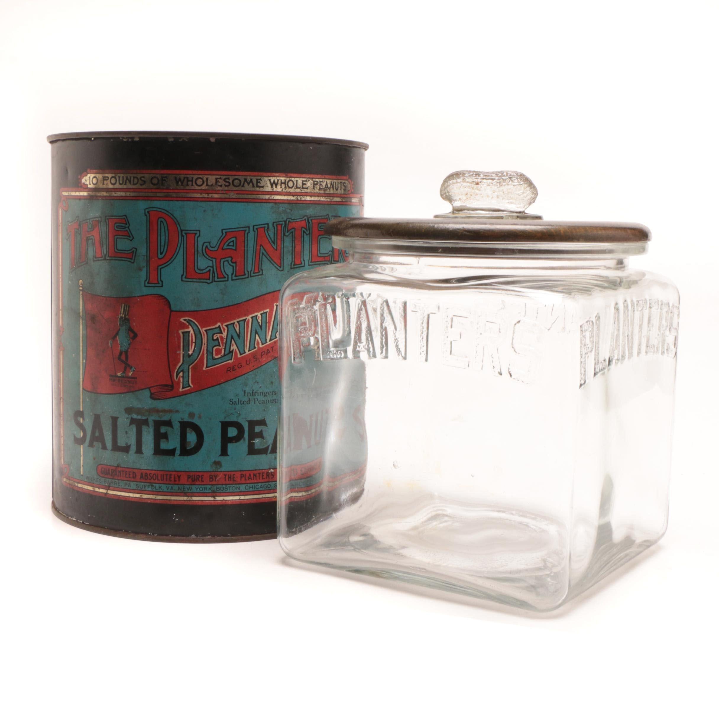 Vintage Advertising Planters Peanut Jar and Tin