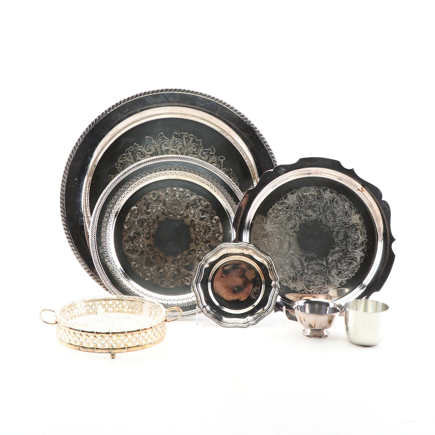 Wm Rogers Silver Plate Trays With Reed Barton Paul Revere Bowl