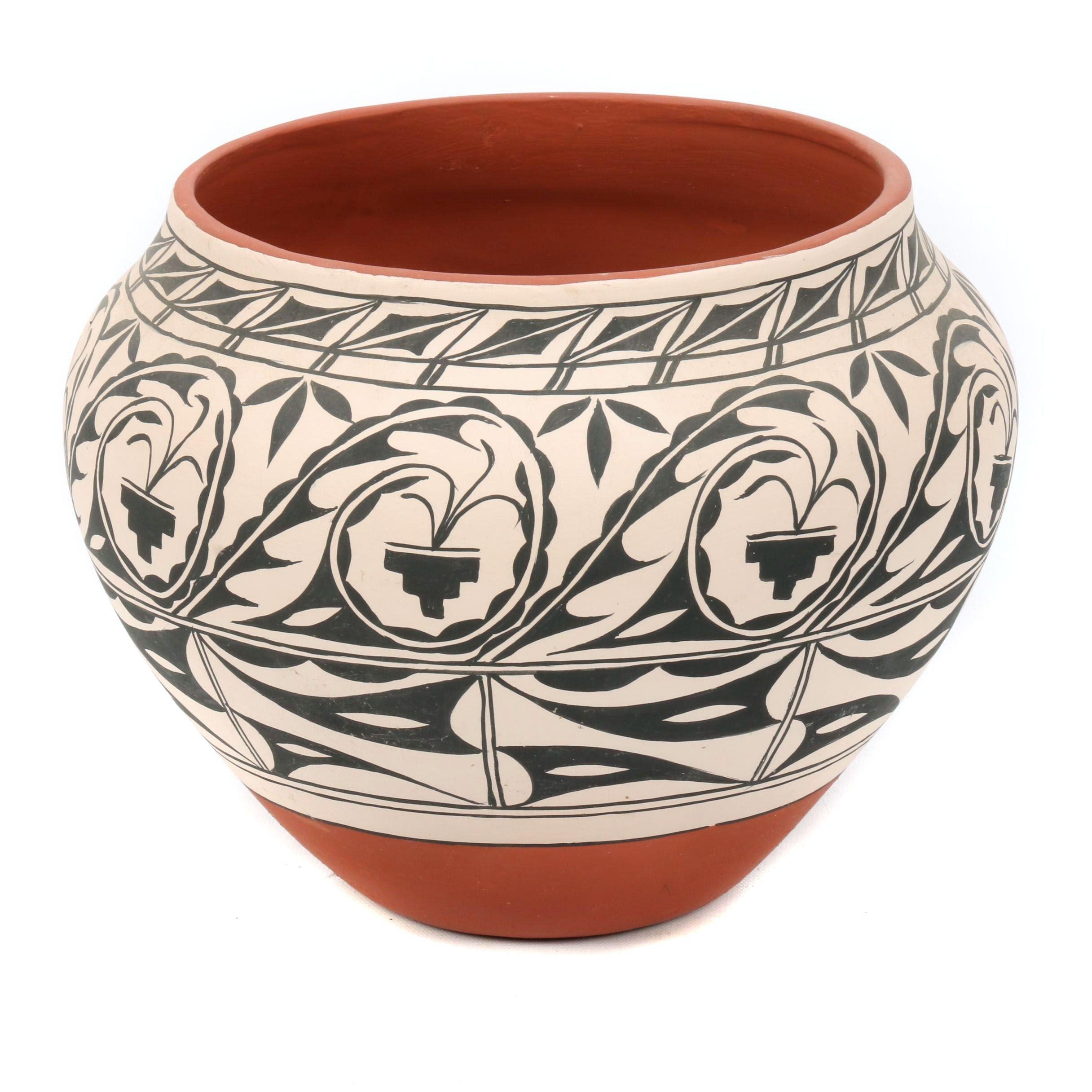 Josie Hand Cochiti Pueblo Polychrome Earthenware Vase
