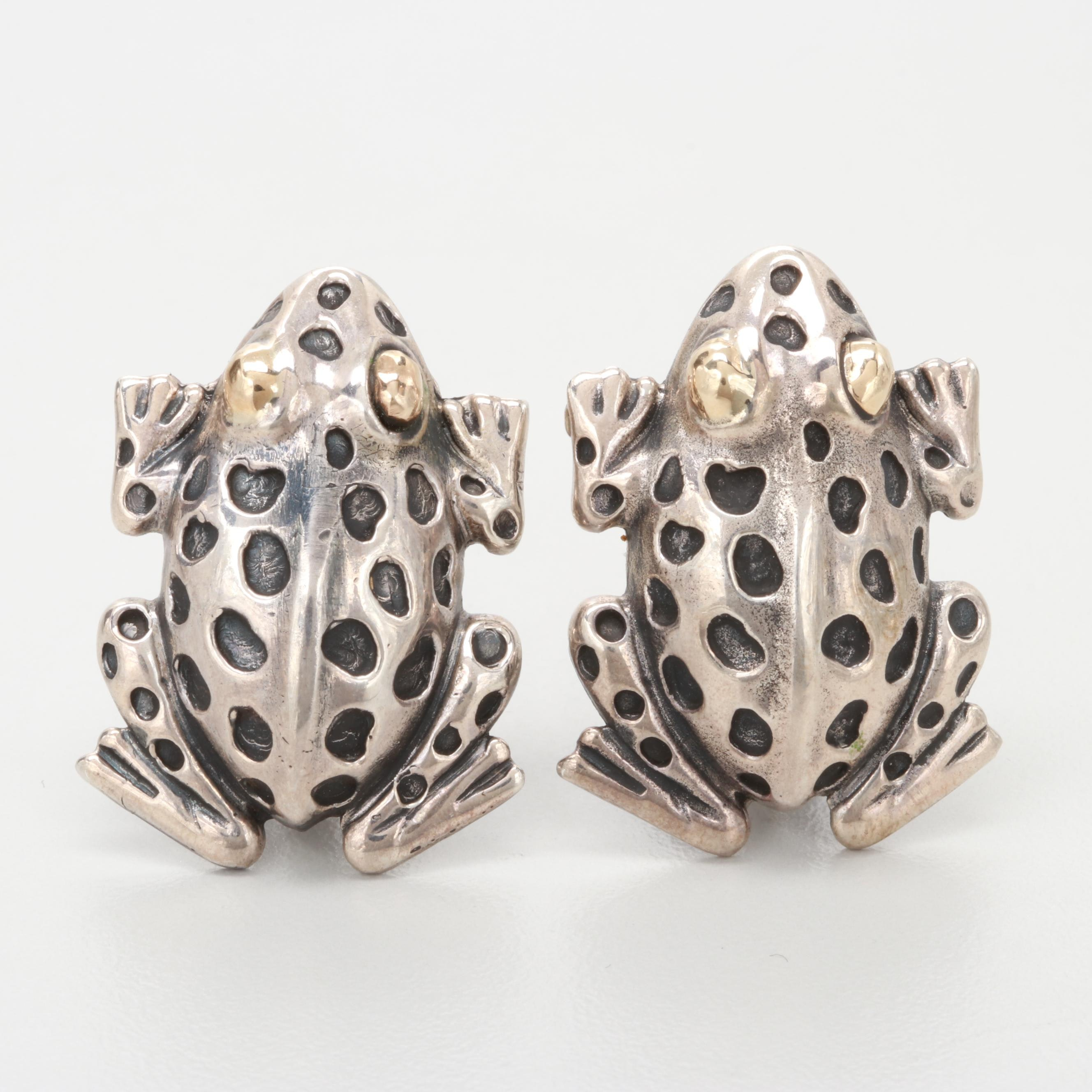 Dian Malouf Sterling Silver Frog Clip on Earrings with 14K Yellow Gold Accents