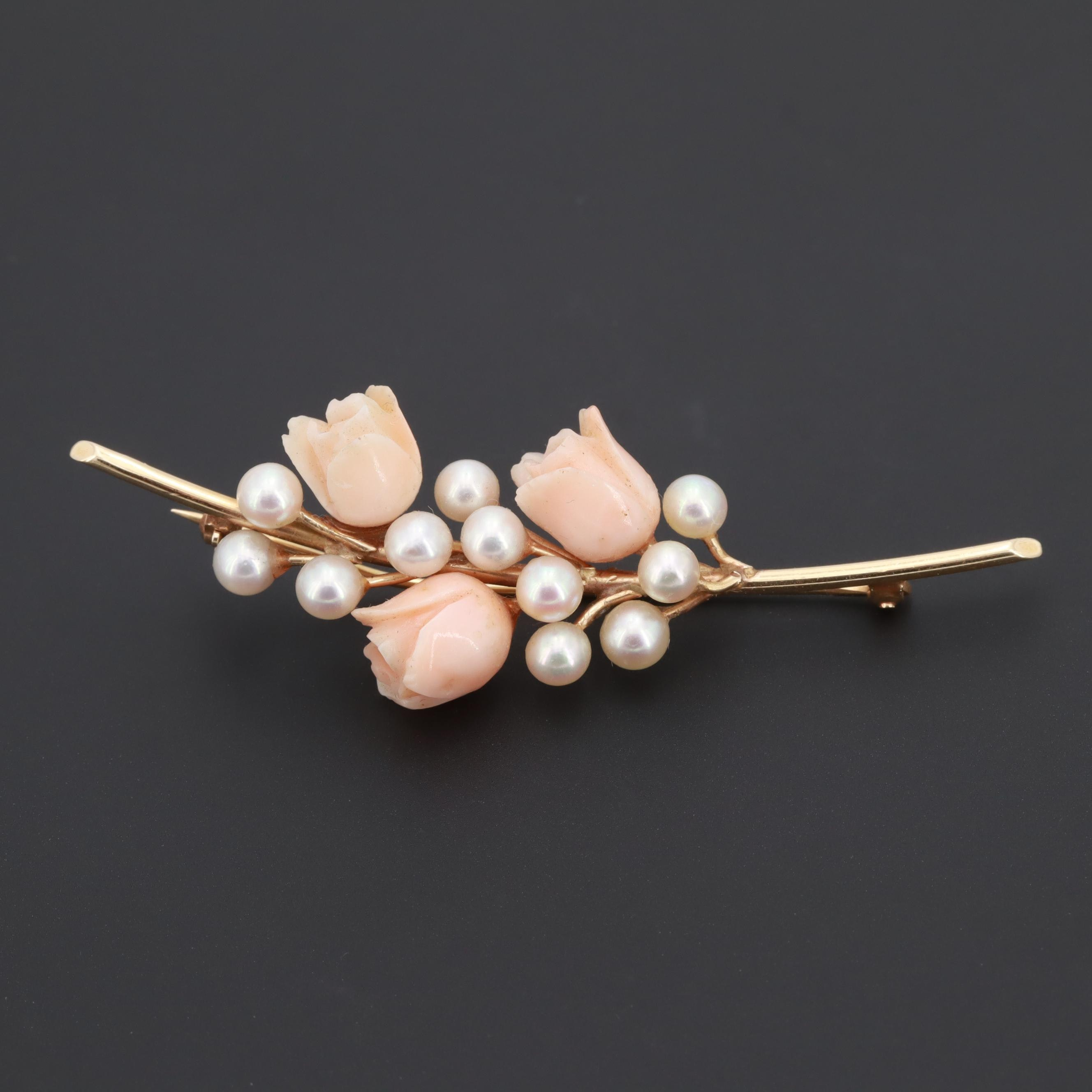 14K Yellow Gold Coral and Cultured Pearl Floral Motif Brooch