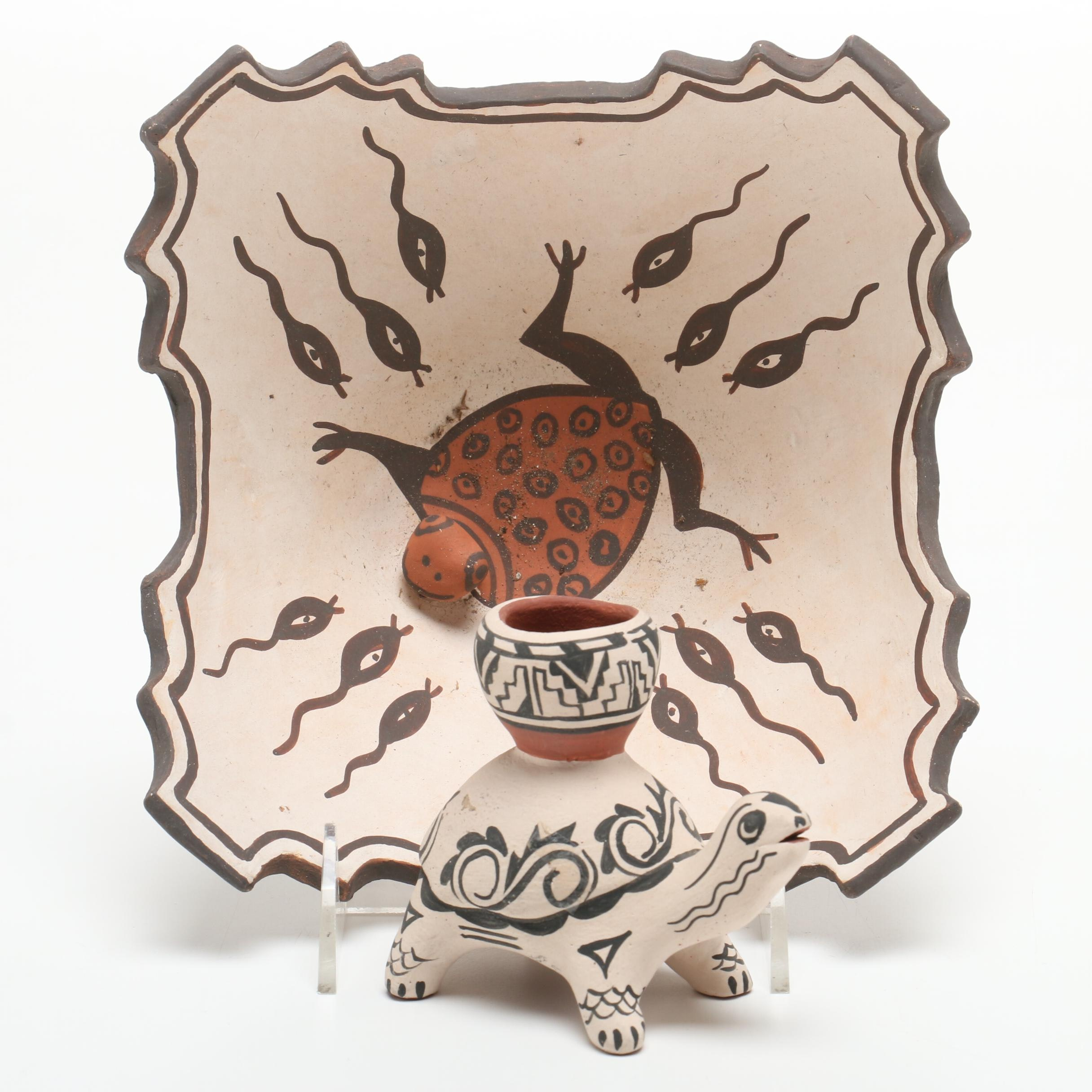 Jennie Laate and Josie Hand Polychrome Bowl and Turtle Figure