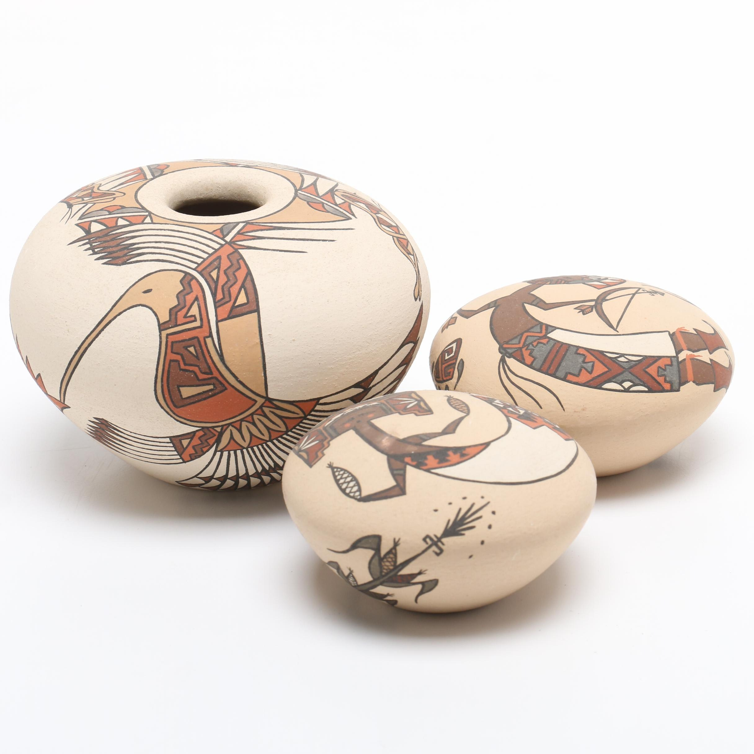 Lois Derek Native American Style Hand Painted Pottery