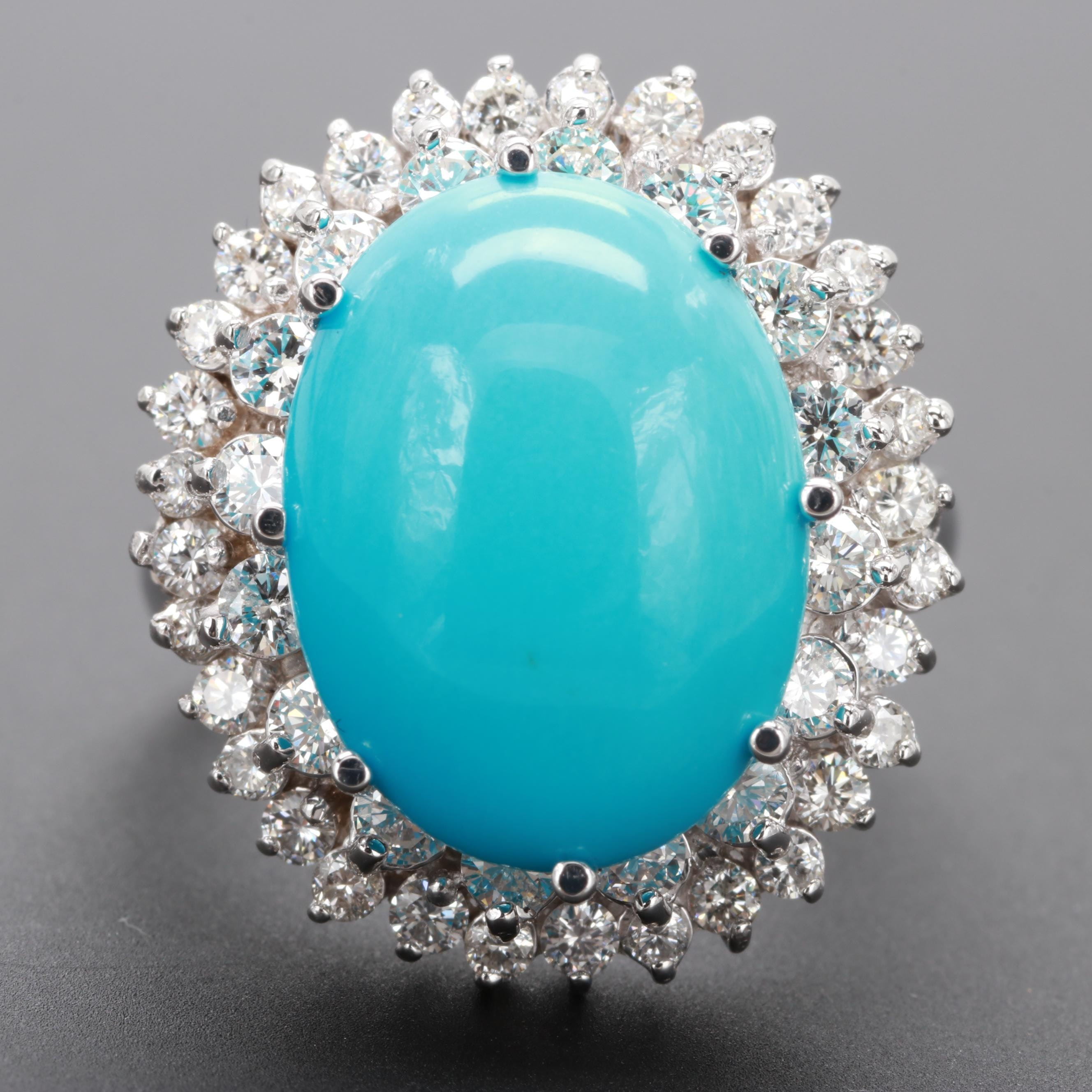 18K White Gold Turquoise and 1.40 CTW Diamond Ring