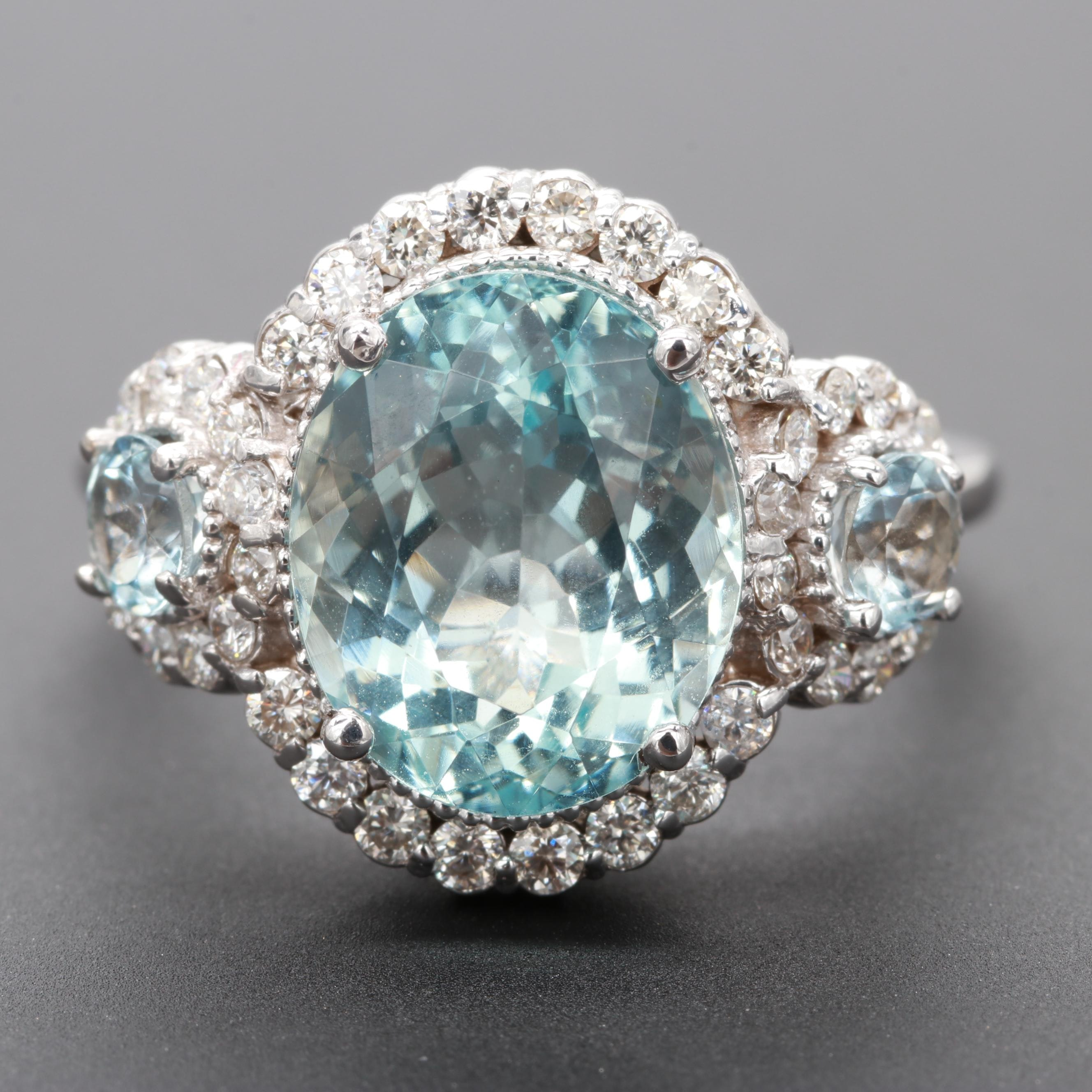 14K White Gold Aquamarine and Diamond Ring with 4.32 CT Center Stone