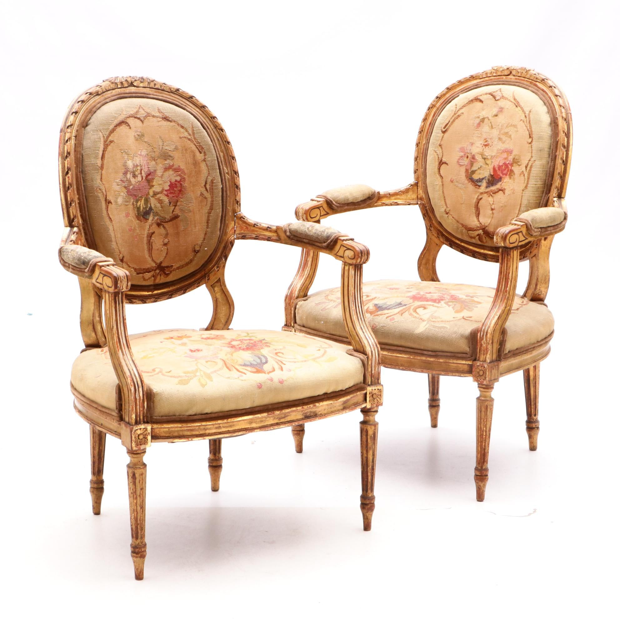 Louis XVI Fauteuils with Aubusson Upholstery, 19th Century