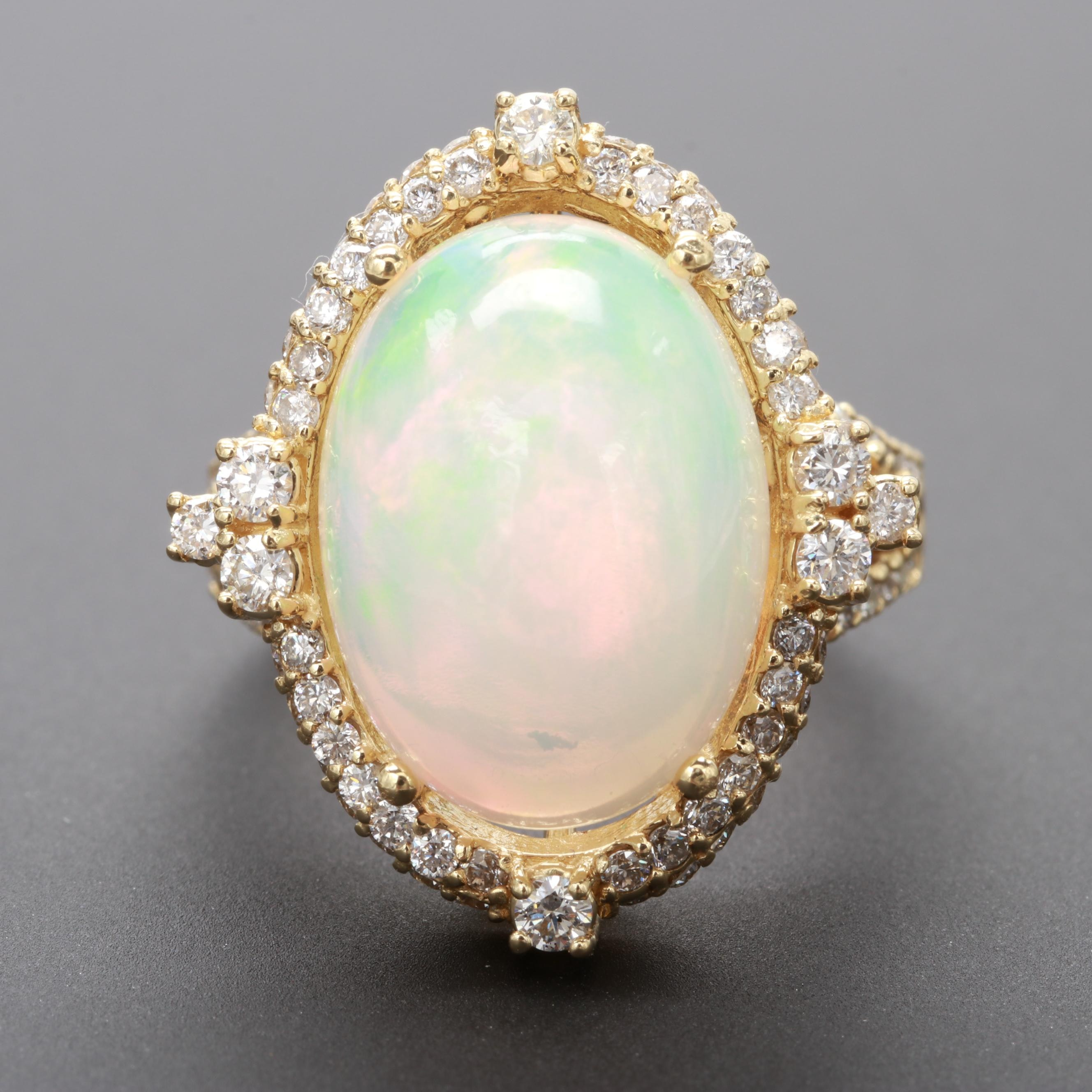 18K Yellow Gold Opal and 1.35 CTW Diamond Ring