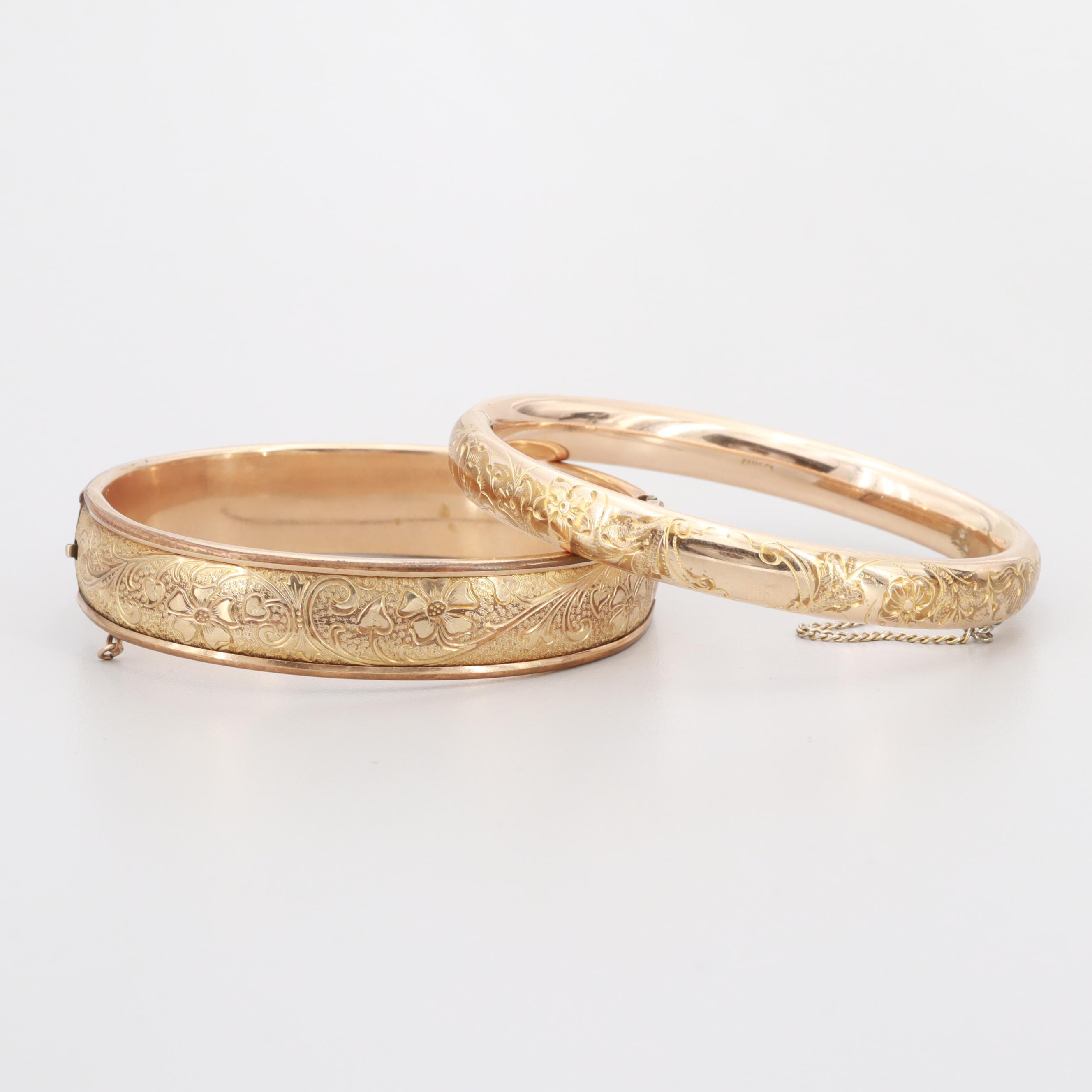 Art Deco Gold Filled Floral Etched Hinged Bangle Bracelets