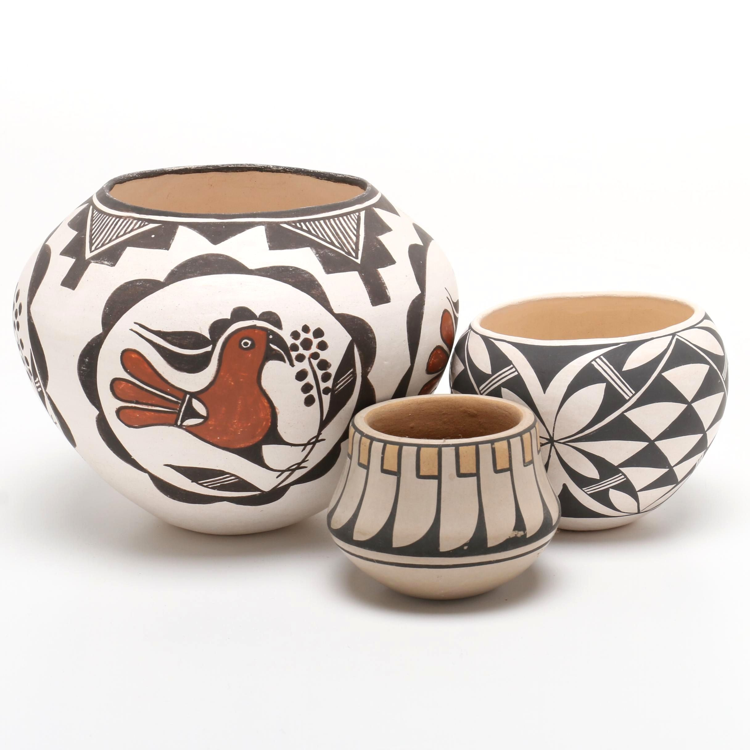 Ildefonso Pueblo and Acoma Polychrome Earthenware Vessels