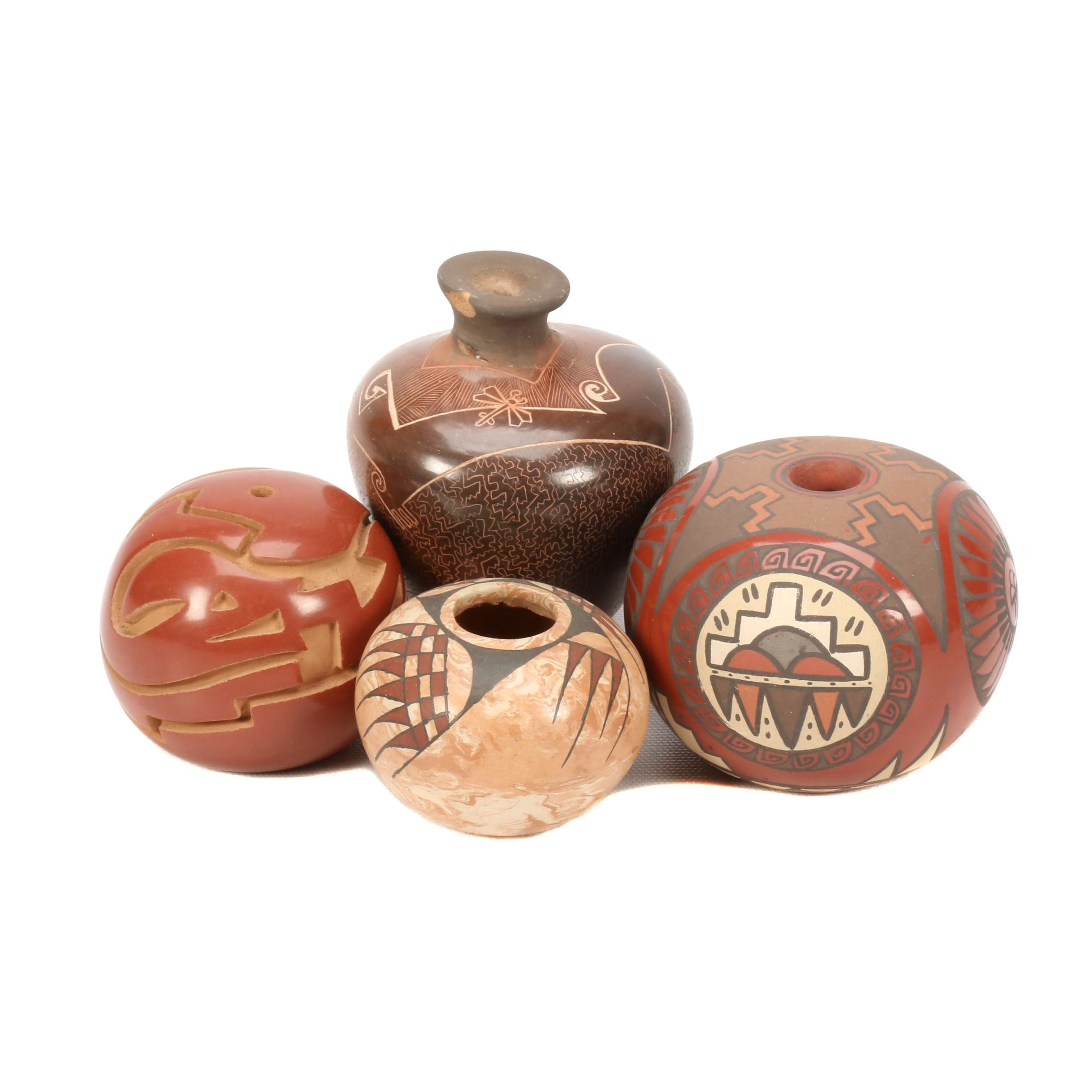 Signed Santa Clara Pueblo Polychromed Pottery Seed Pots with Polychromed Ollas