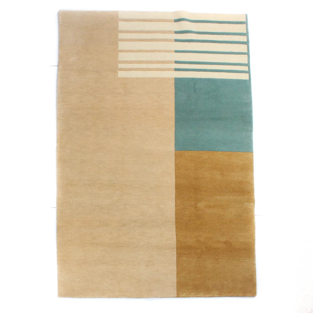 Hand-Knotted Indo-Persian Modern Color Block Rug