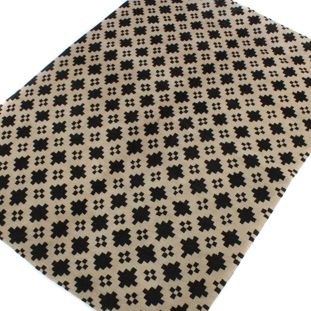 Hand-Knotted Tibetan Modern Geometric Rug