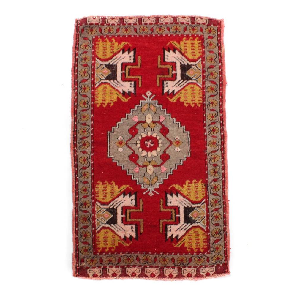 1'8 x 2'11 Hand-Knotted Turkish Village Rug, circa 1940