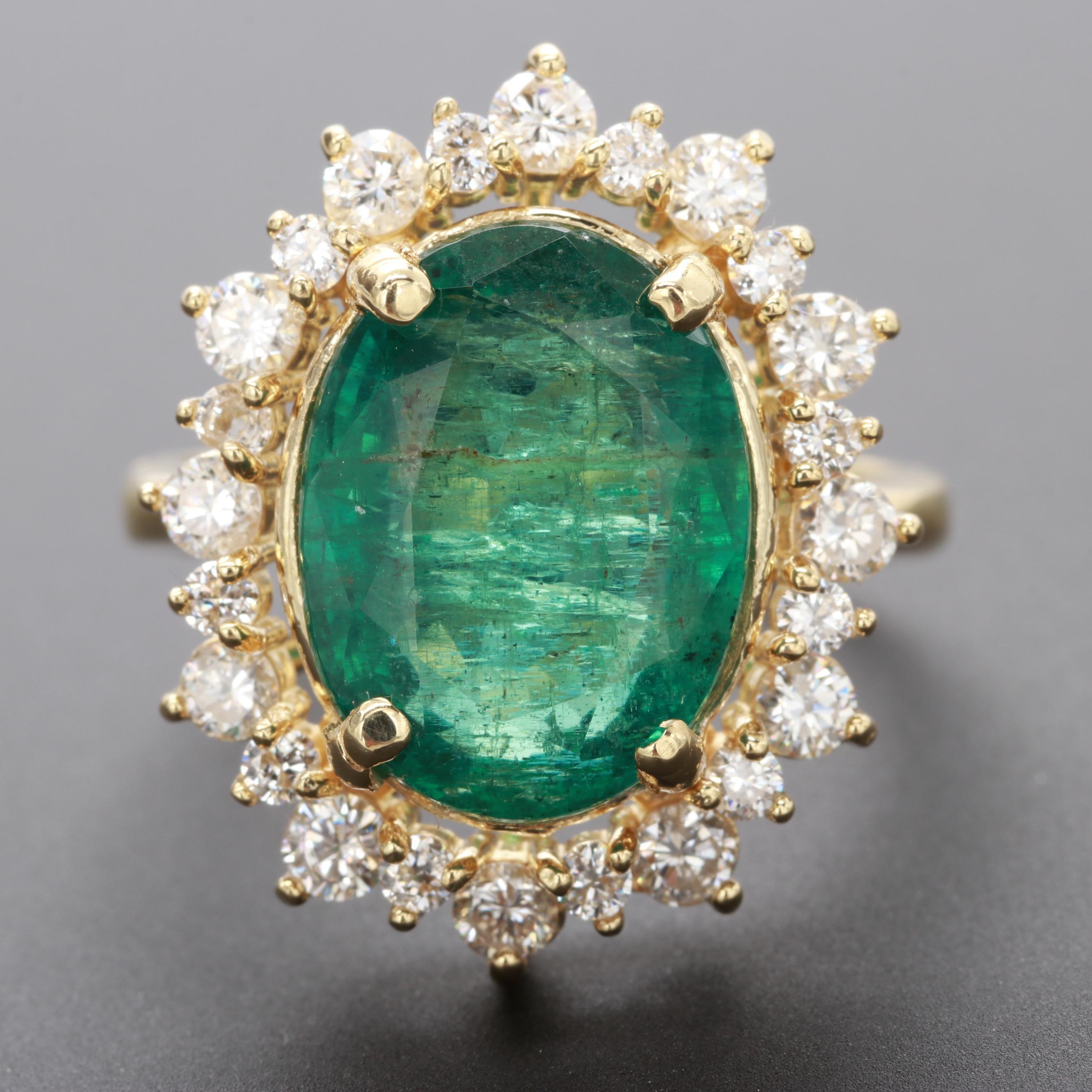 18K Yellow Gold 4.08 CT Emerald and Diamond Ring