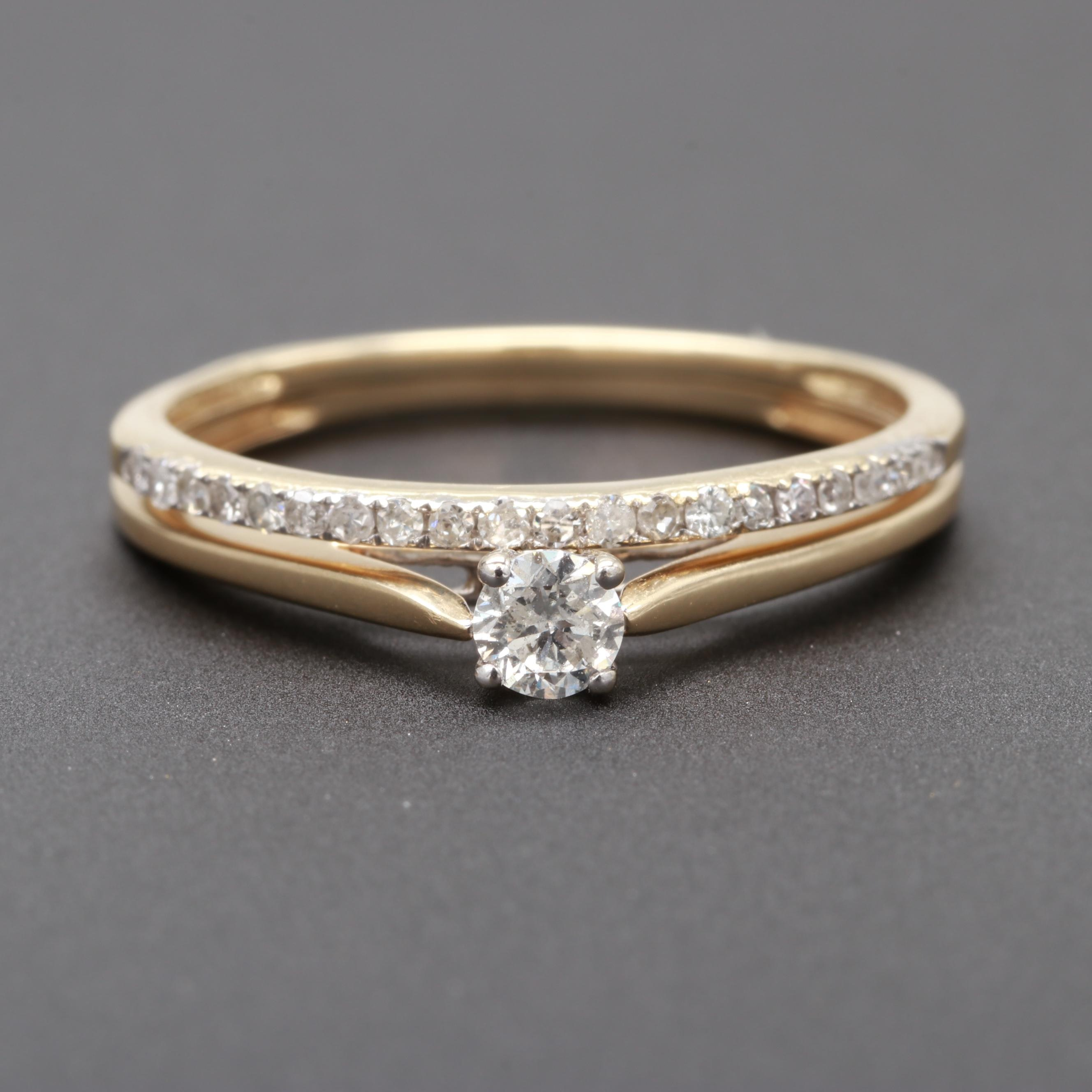 14K and 10K Yellow Gold Diamond Ring Set