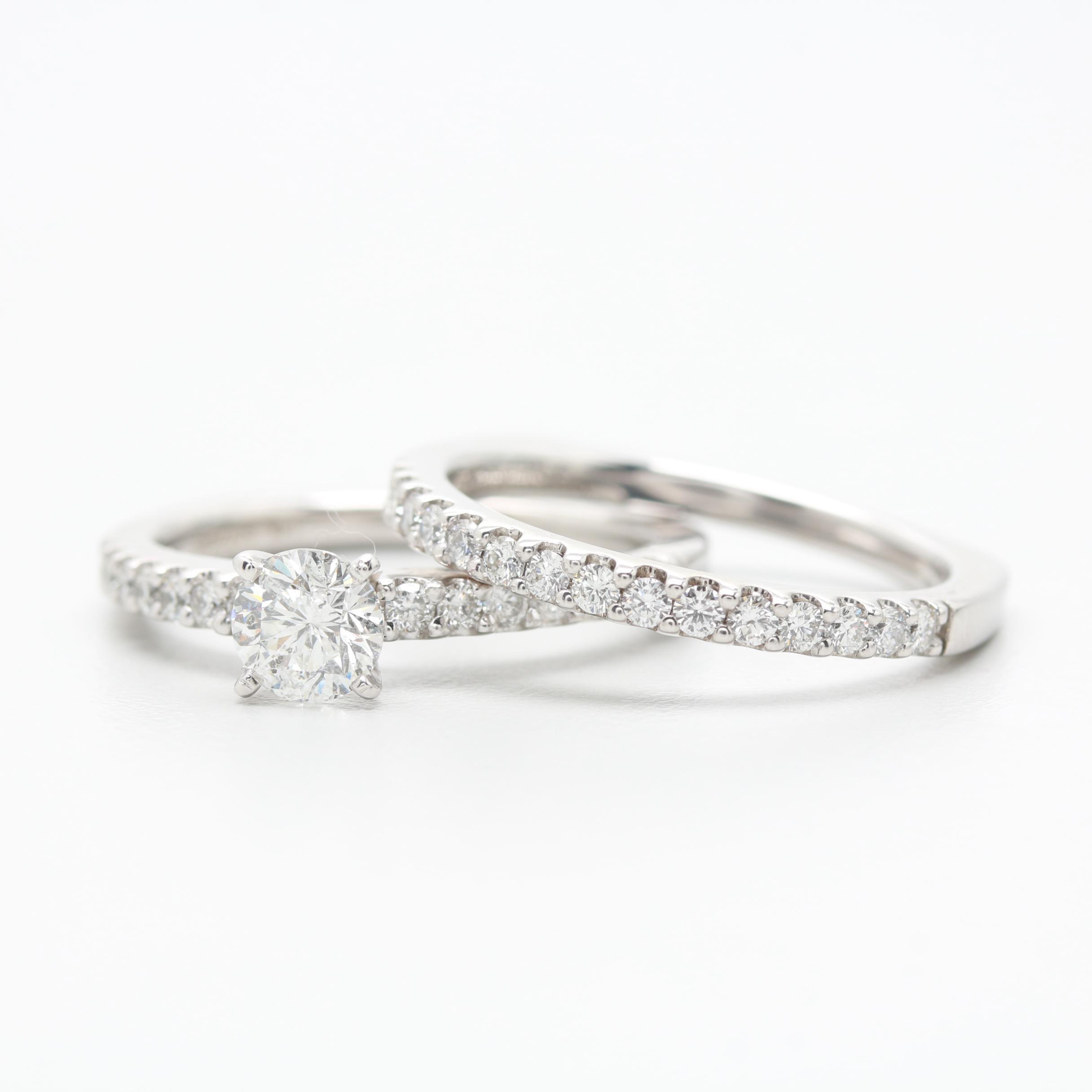 Gabriel and Co. 14K White Gold 1.45 CTW Diamond Euro Shank Ring Set