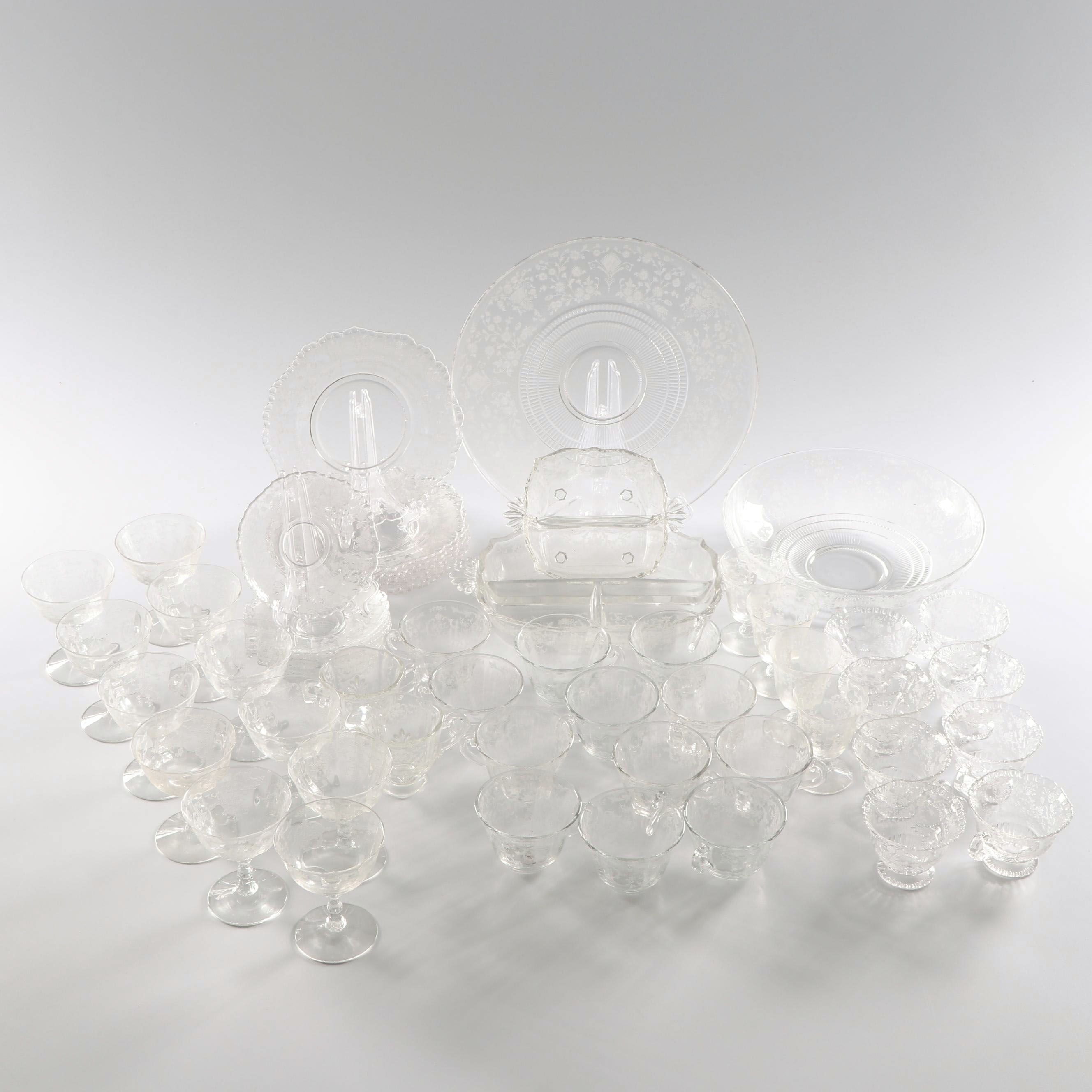 Etched Glass Tableware Including Fostoria