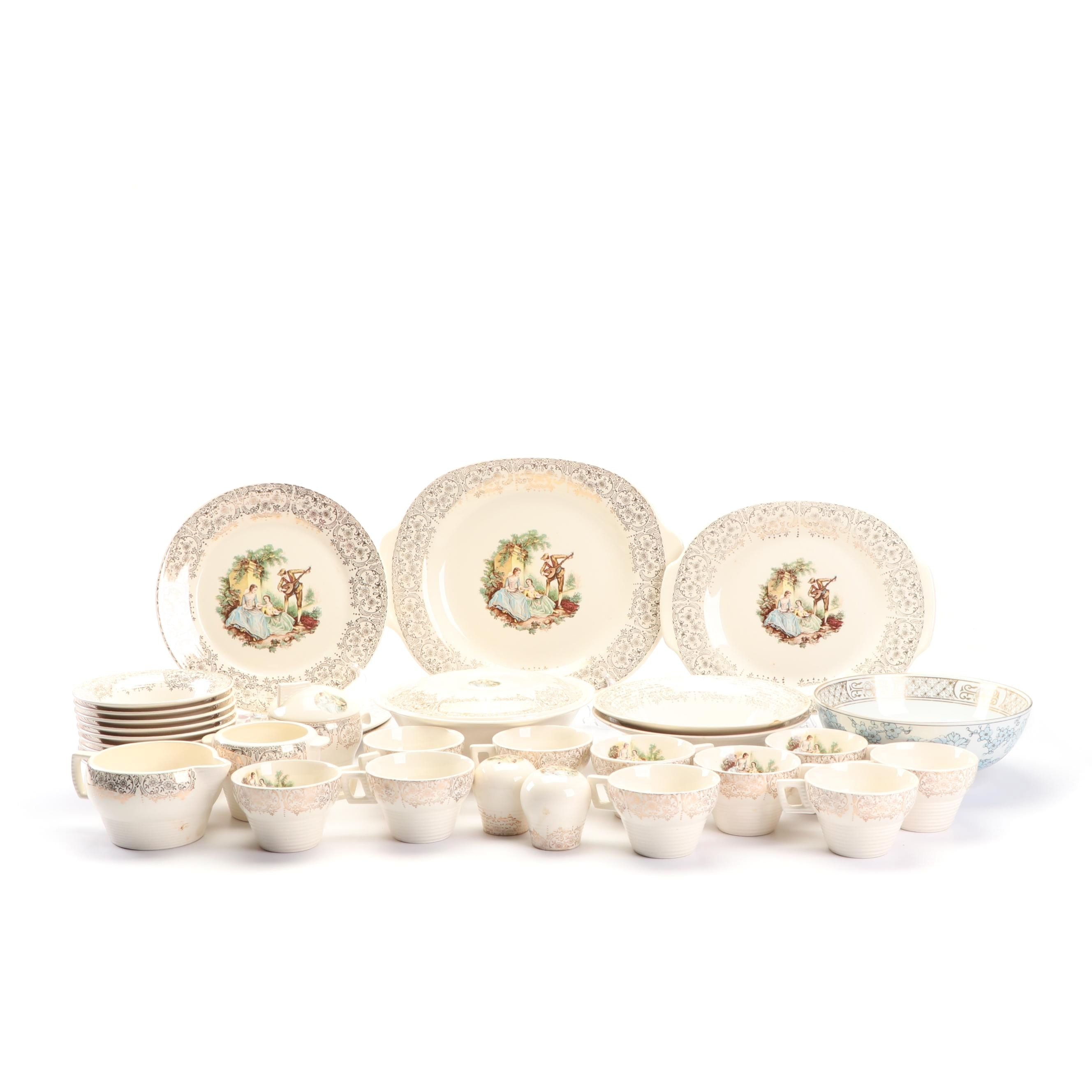 """American Limoges """"China d'Or"""" Dinnerware with Hand-Painted Gold Imari Bowl"""