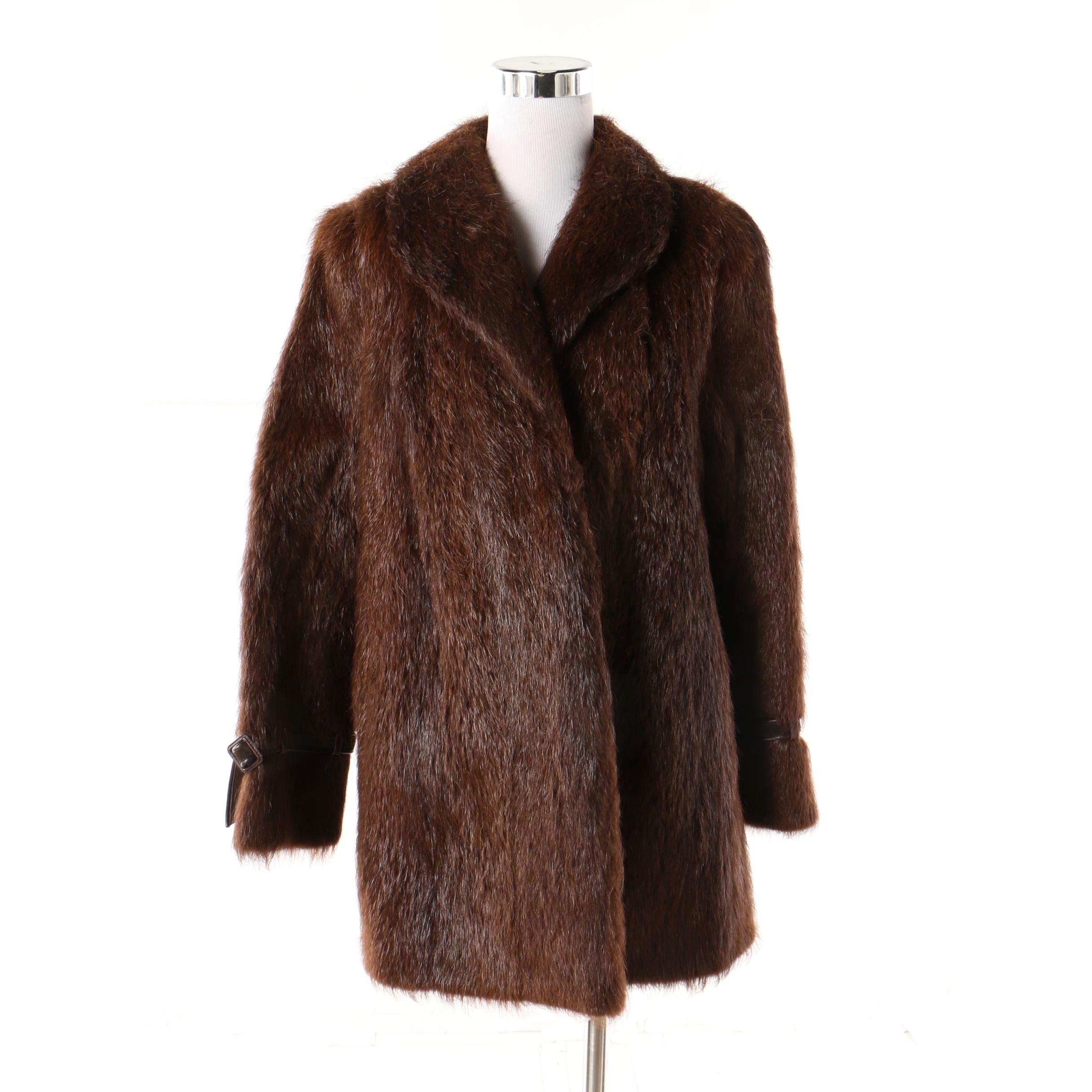 Women's Vintage Diutsh Furs of Boston Dark Brown Nutria Fur Coat