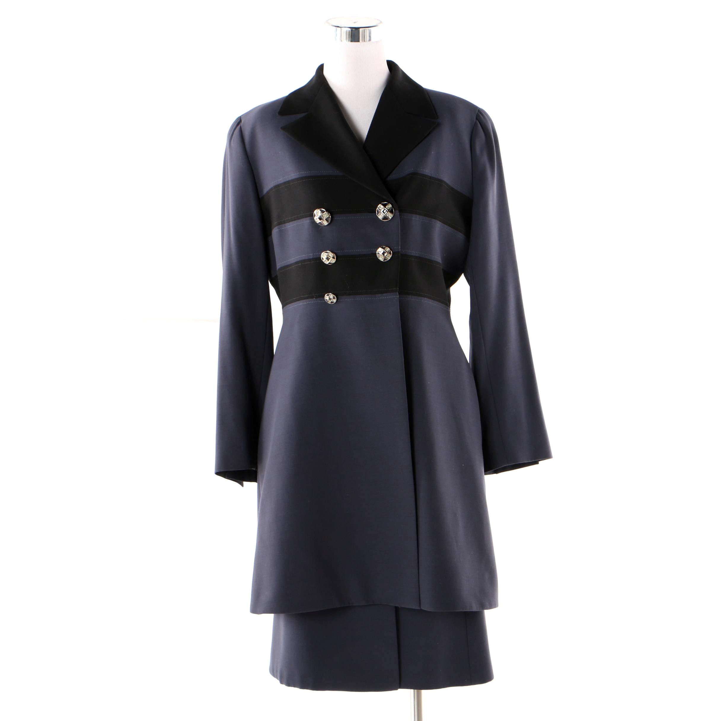 Women's Vintage Provasou Torino Navy and Black Wool Skirt Suit, Made in Italy