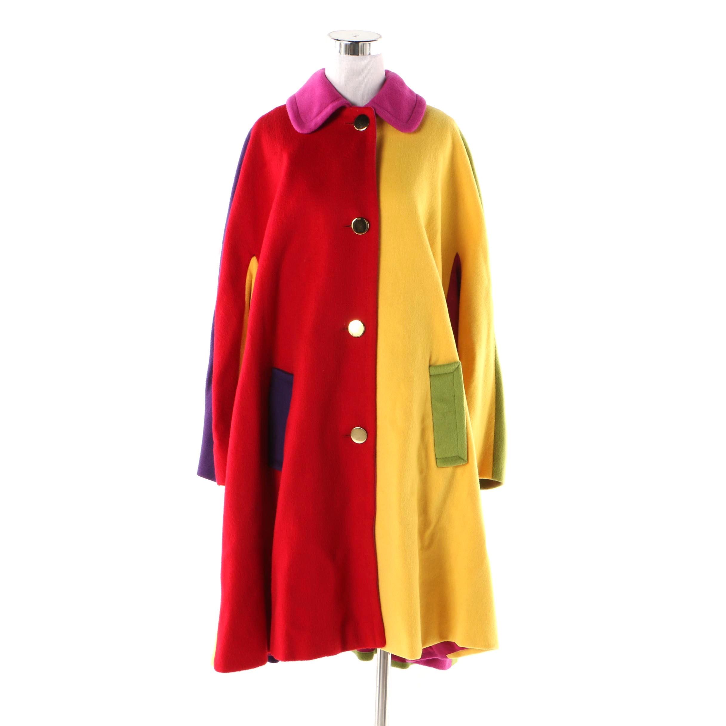 Women's Circa 1980s Vintage Bill Blass Color Block Wool Swing Coat