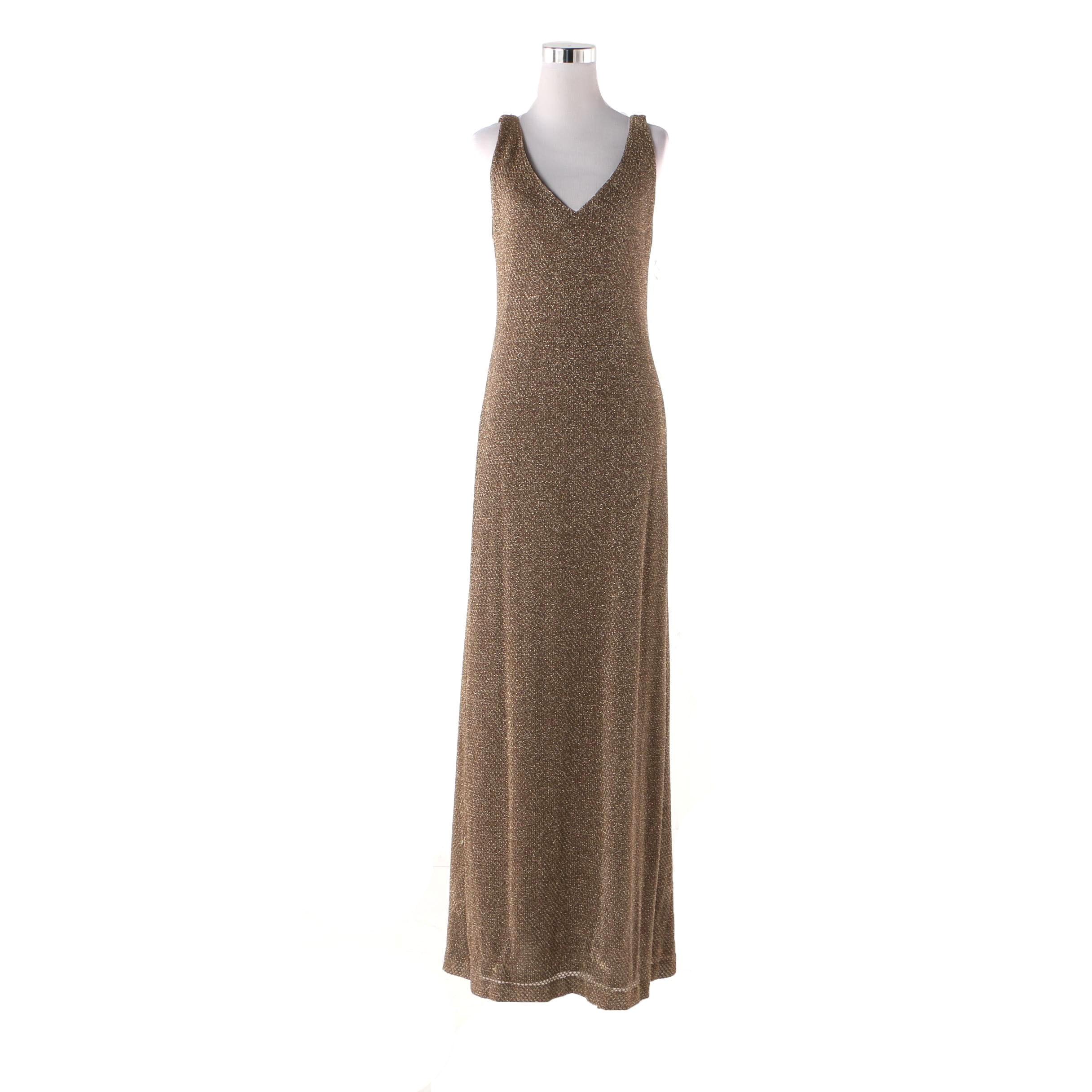 Andrea Polizzi for Rex Lester Bronze Metallic Sheath Dress