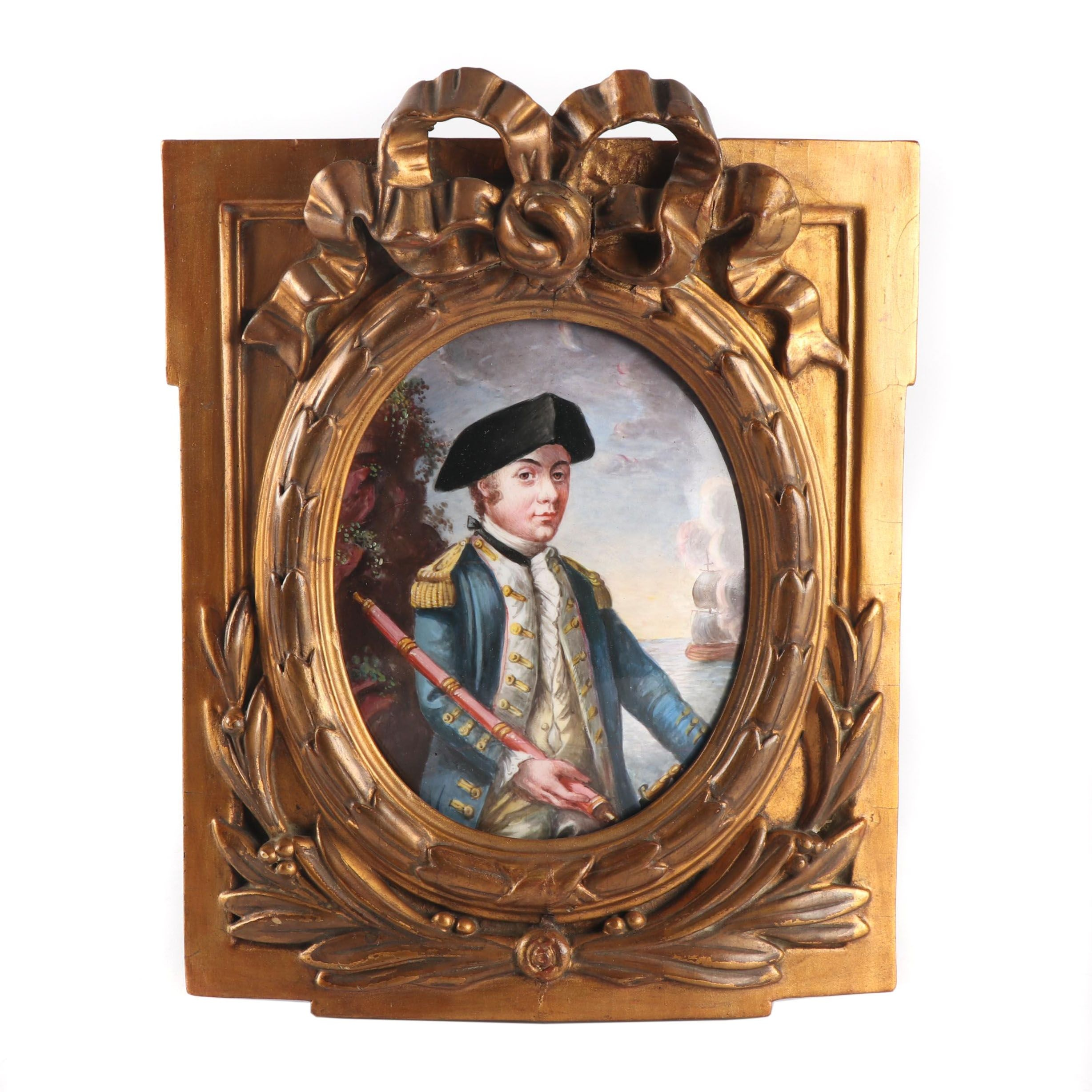 "Miniature Oil Painting after Johann Elias Haid ""John Paul Jones"""