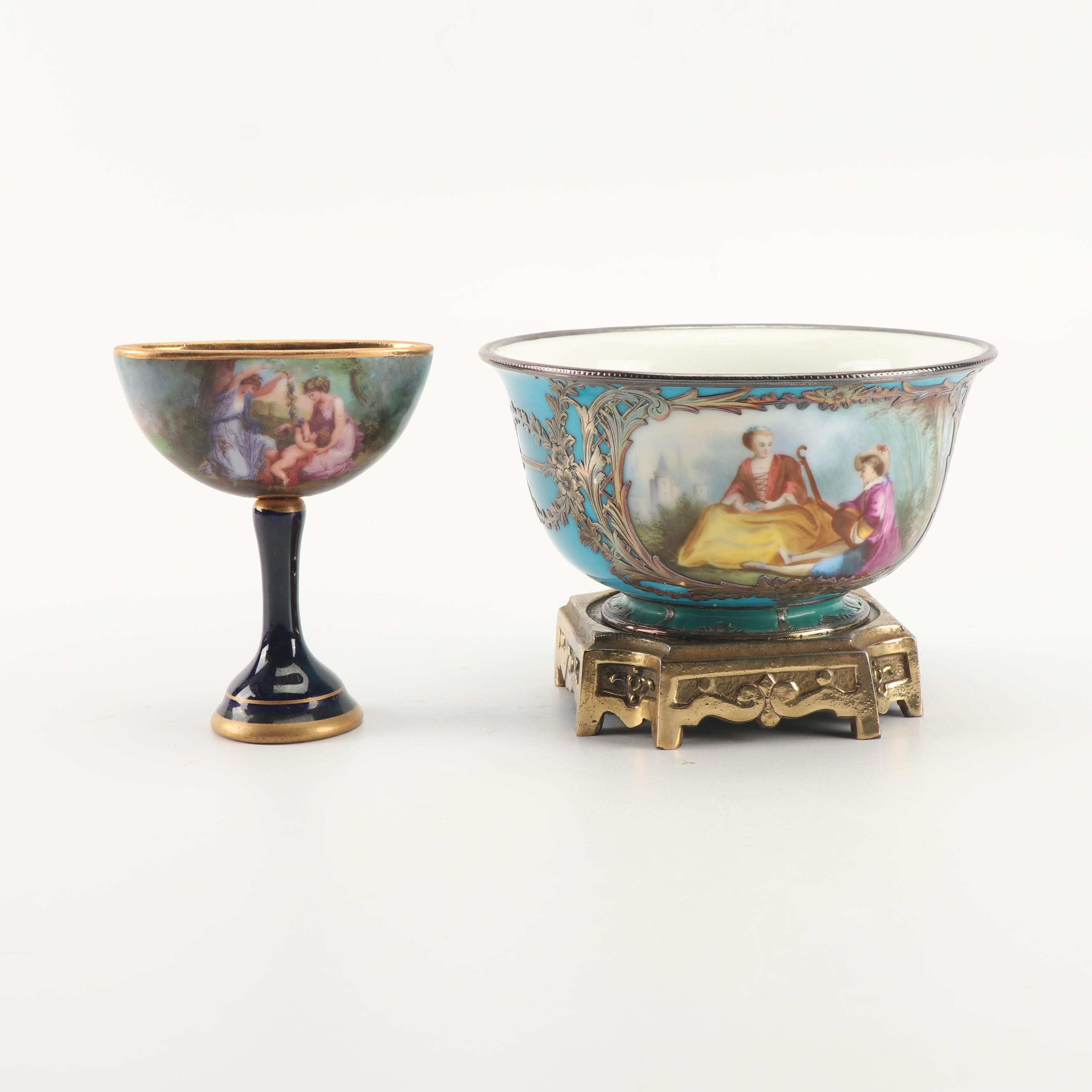 Sevres Style Hand-Painted Porcelain Bowl and Royal Vienna Porcelain Compote