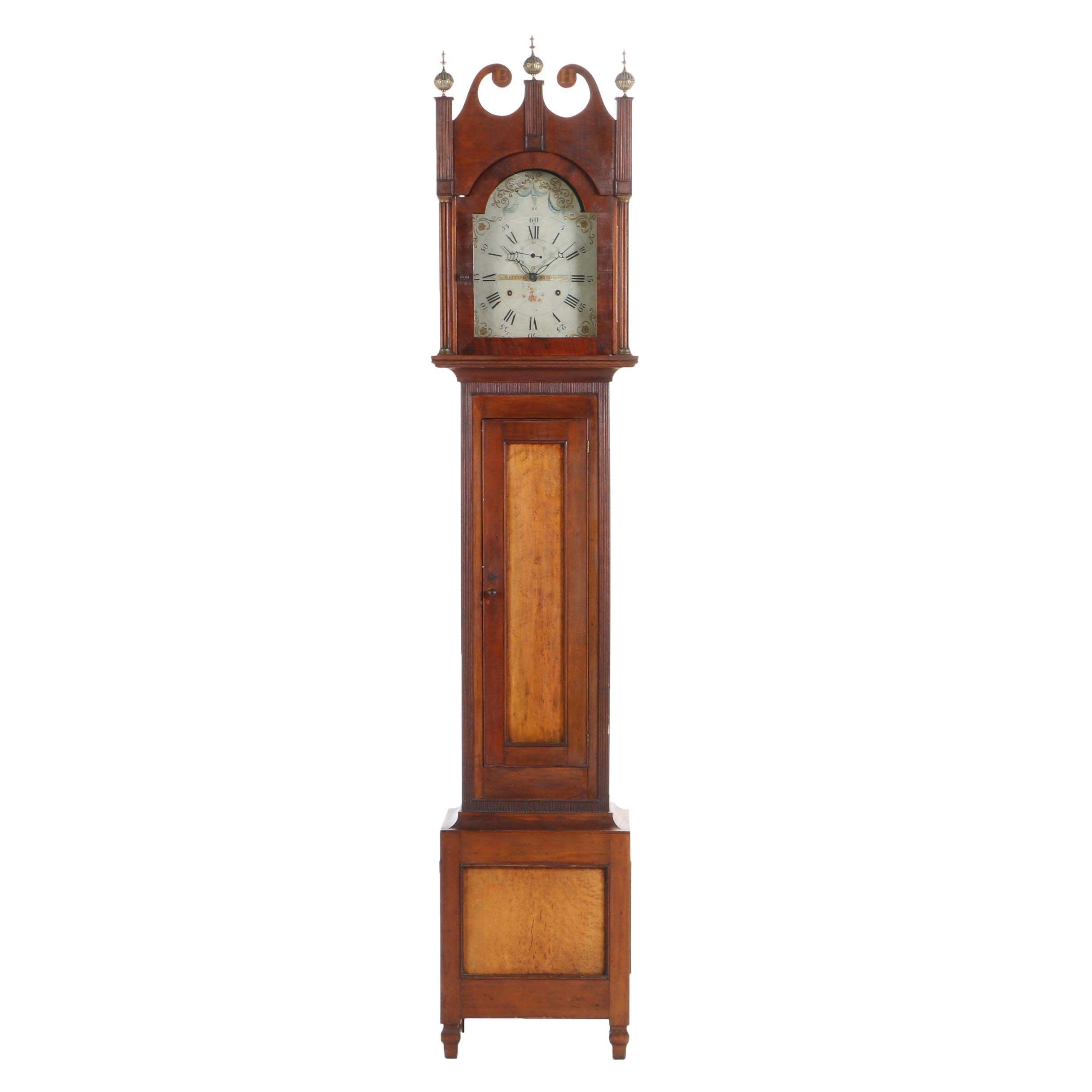 Federal Cherrywood, Maple, and Mahogany Tall Case Clock by Riley Whiting