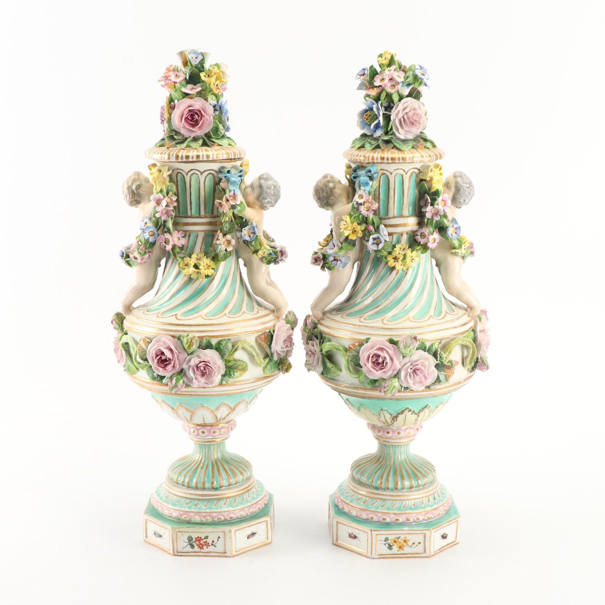 Meissen Style Flower and Cherub Porcelain Mantel Urns