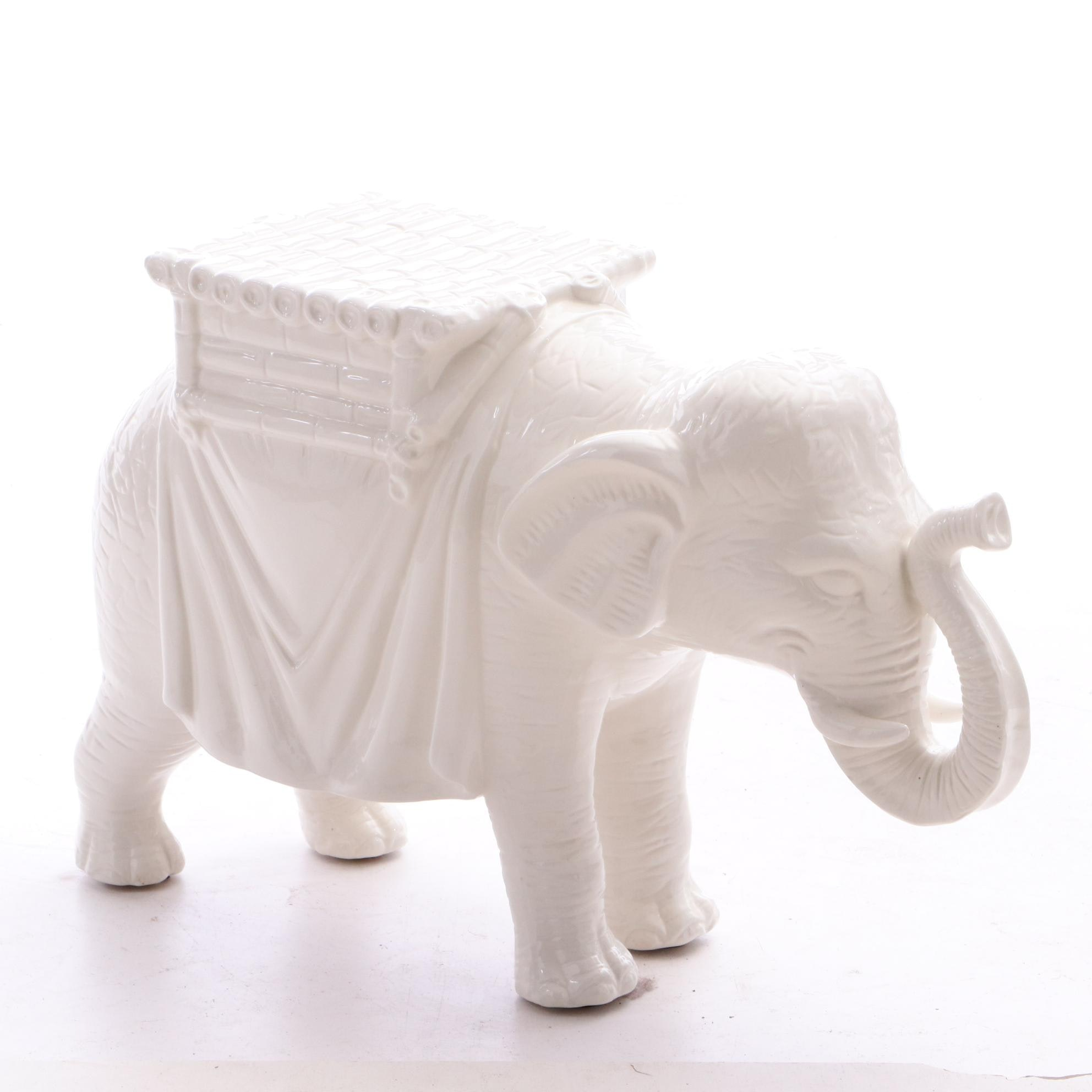 Ceramic Figural Elephant Plant Stand by Two's Company