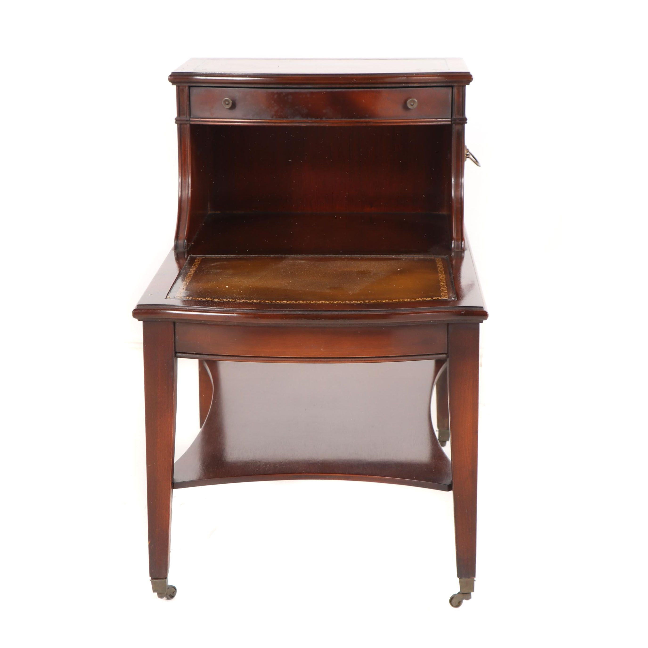 Federal Style Mahogany and Leather Step-Back End Table, Mid-20th Century